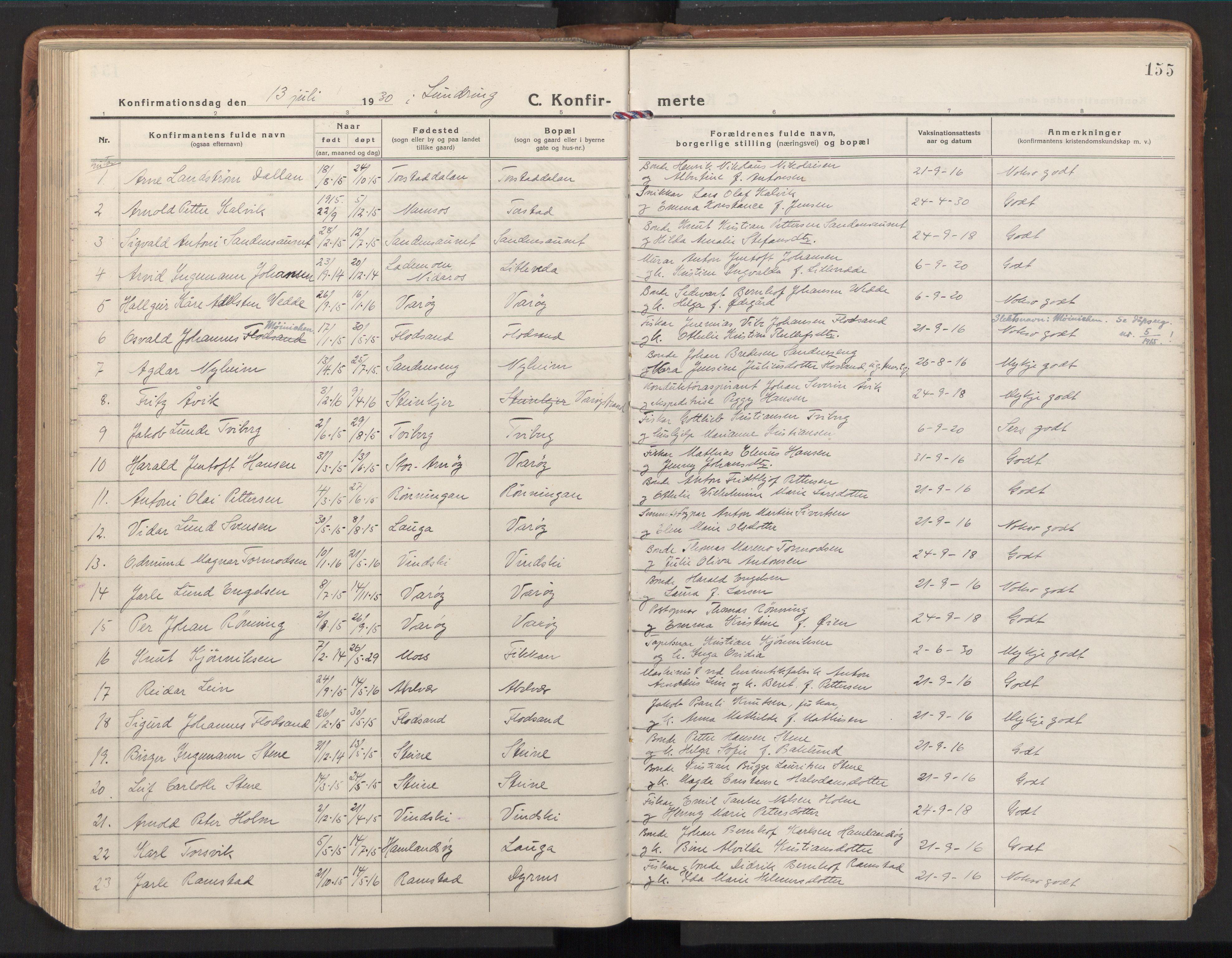 SAT, Ministerialprotokoller, klokkerbøker og fødselsregistre - Nord-Trøndelag, 784/L0678: Ministerialbok nr. 784A13, 1921-1938, s. 155