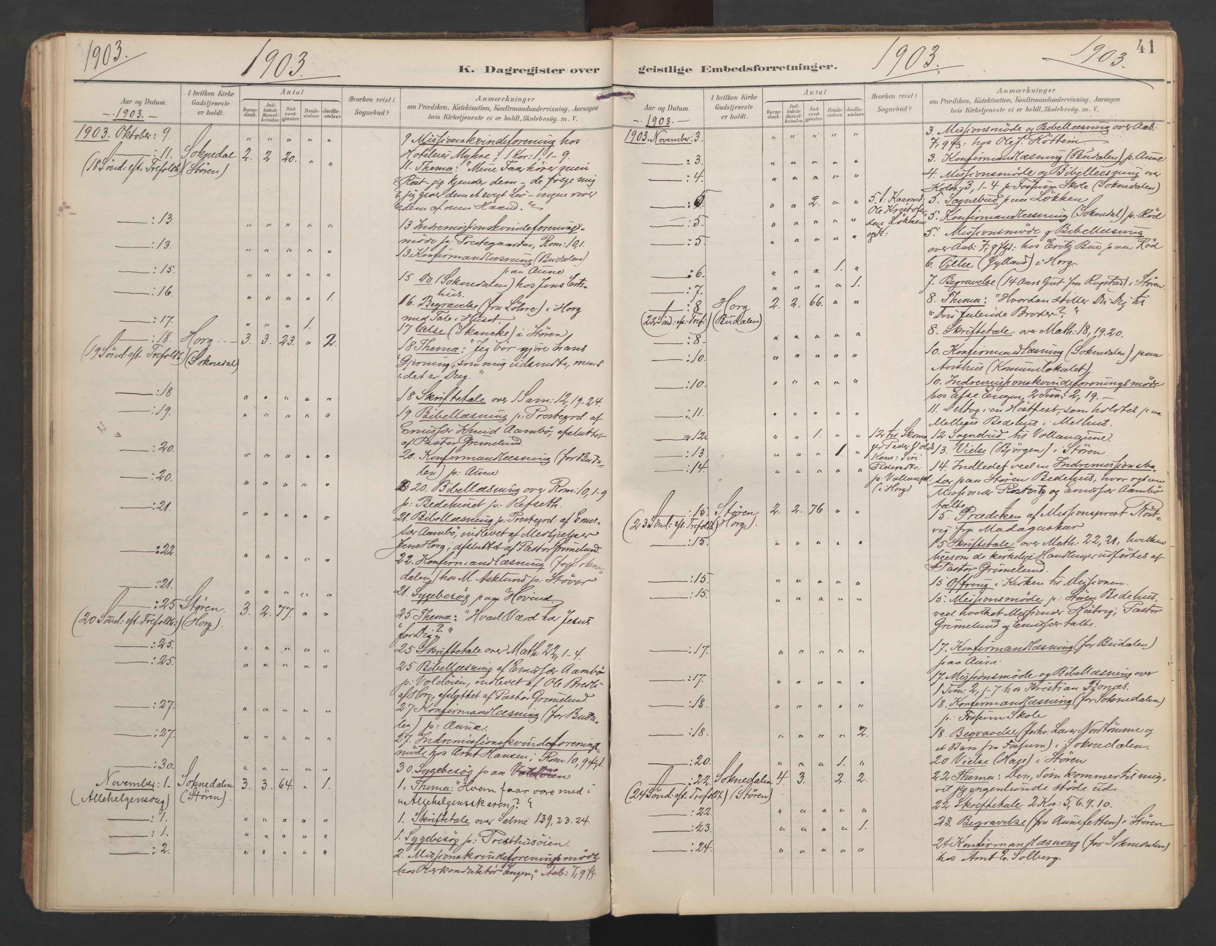 SAT, Ministerialprotokoller, klokkerbøker og fødselsregistre - Sør-Trøndelag, 687/L1005: Dagregister nr. 687A11, 1891-1912, s. 41