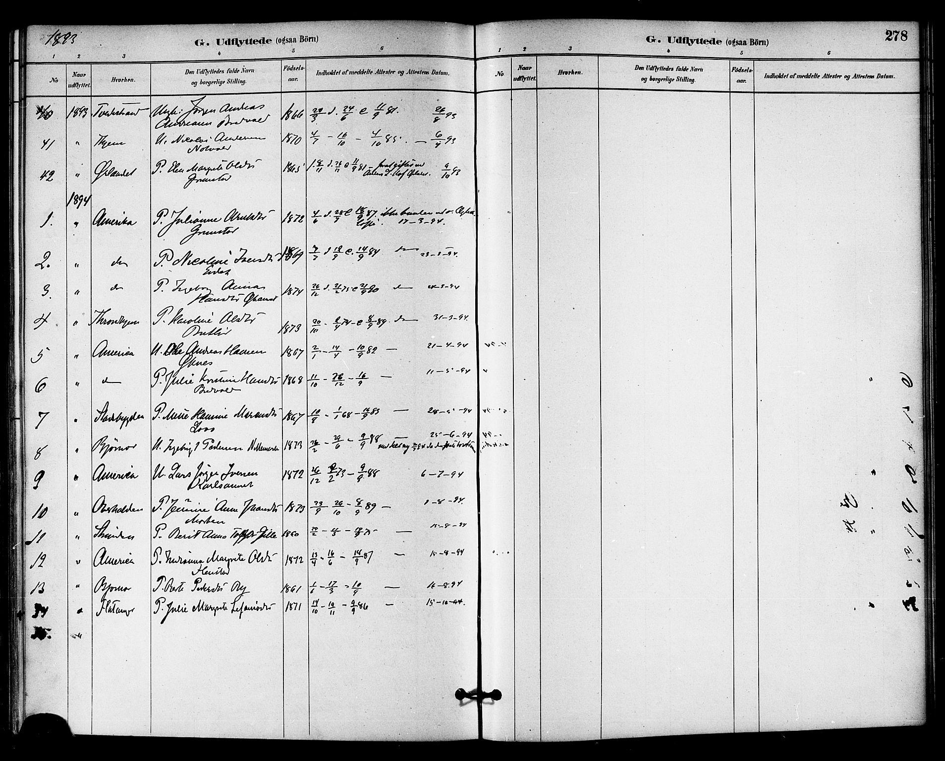 SAT, Ministerialprotokoller, klokkerbøker og fødselsregistre - Sør-Trøndelag, 655/L0680: Ministerialbok nr. 655A09, 1880-1894, s. 278