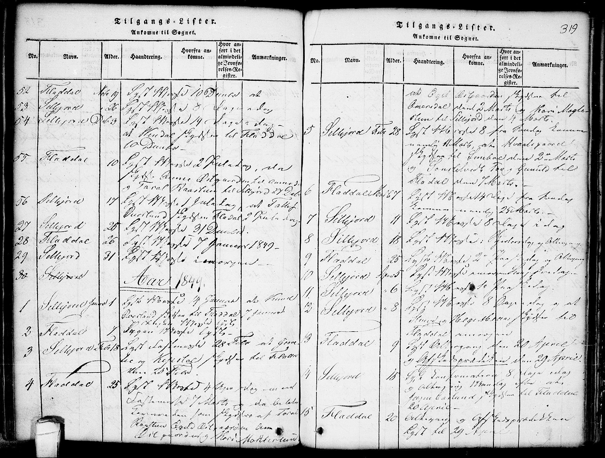 SAKO, Seljord kirkebøker, G/Gb/L0002: Klokkerbok nr. II 2, 1815-1854, s. 319