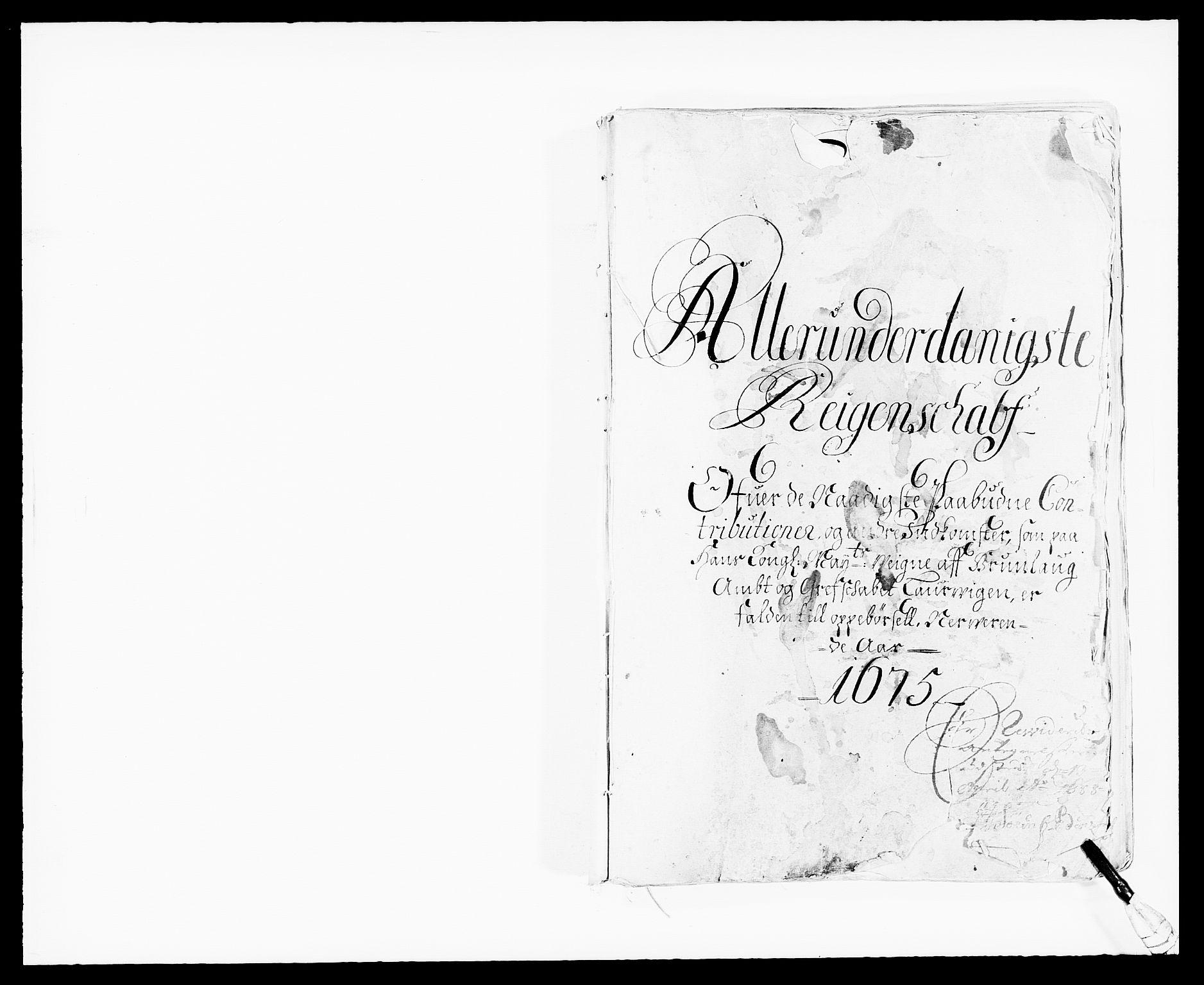 RA, Rentekammeret inntil 1814, Reviderte regnskaper, Fogderegnskap, R33/L1967: Fogderegnskap Larvik grevskap, 1675-1687, s. 1