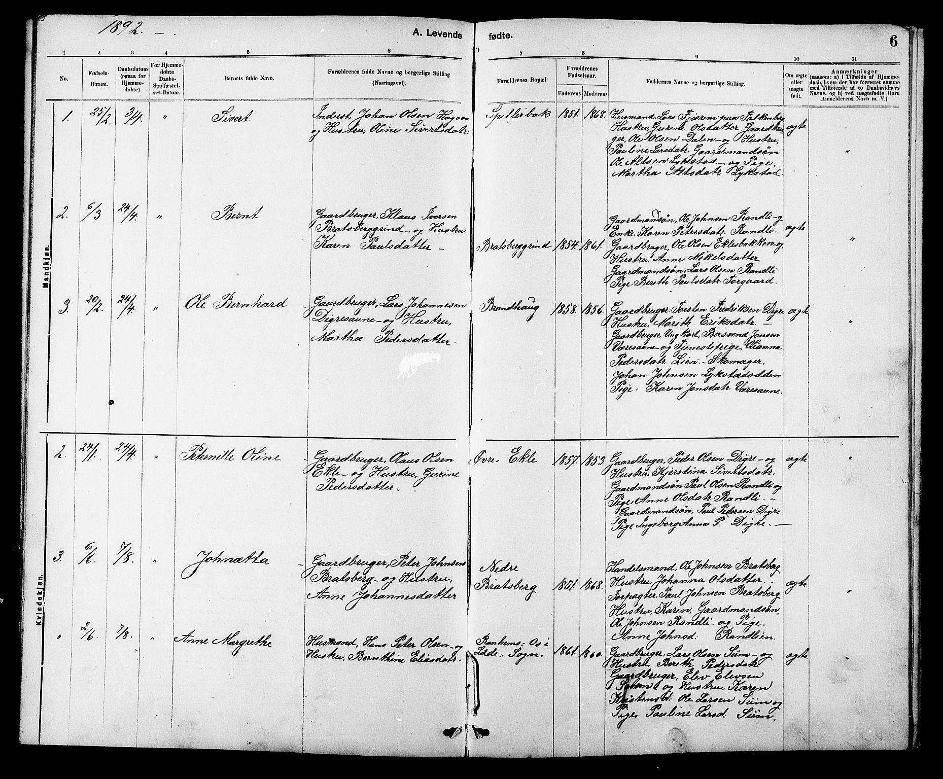 SAT, Ministerialprotokoller, klokkerbøker og fødselsregistre - Sør-Trøndelag, 608/L0341: Klokkerbok nr. 608C07, 1890-1912, s. 6
