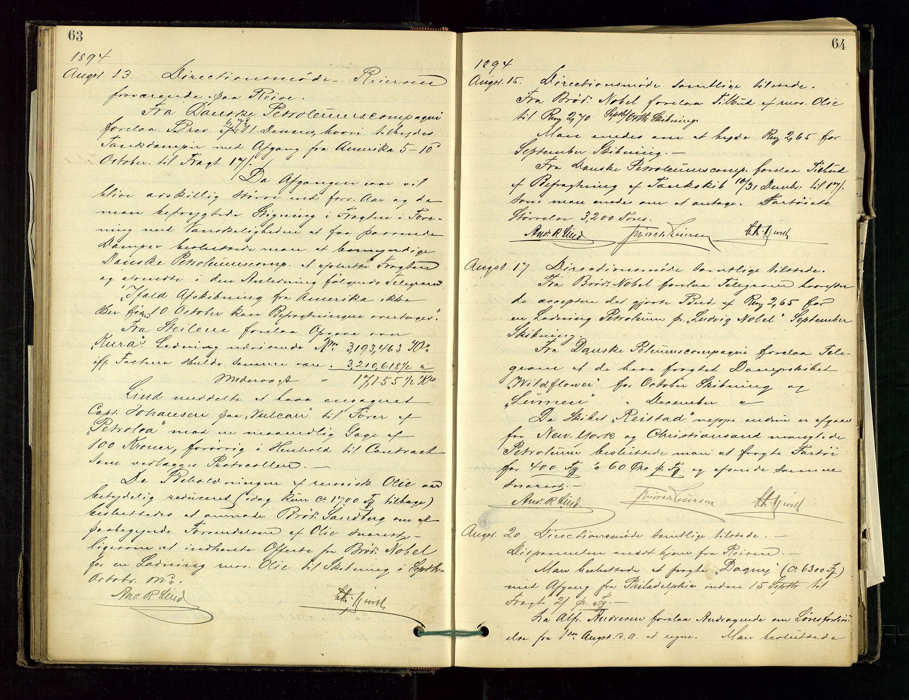 SAST, PA 1534 - Østlandske Petroleumscompagni A/S, A/Aa/L0001: Generalforsamlinger og direksjonsprotokoller., 1892-1905, s. 63-64