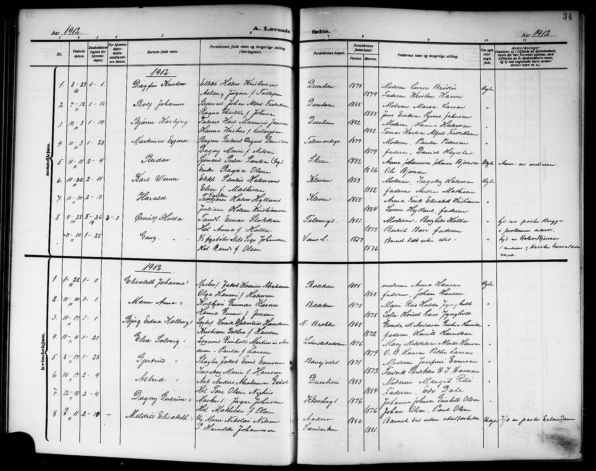 SAKO, Skien kirkebøker, G/Ga/L0009: Klokkerbok nr. 9, 1910-1920, s. 34