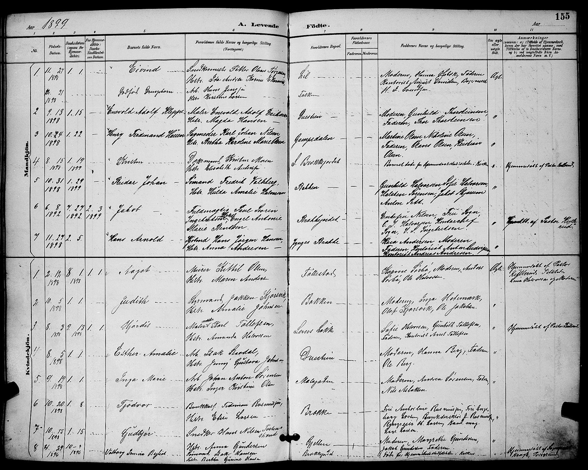 SAKO, Skien kirkebøker, G/Ga/L0007: Klokkerbok nr. 7, 1891-1900, s. 155