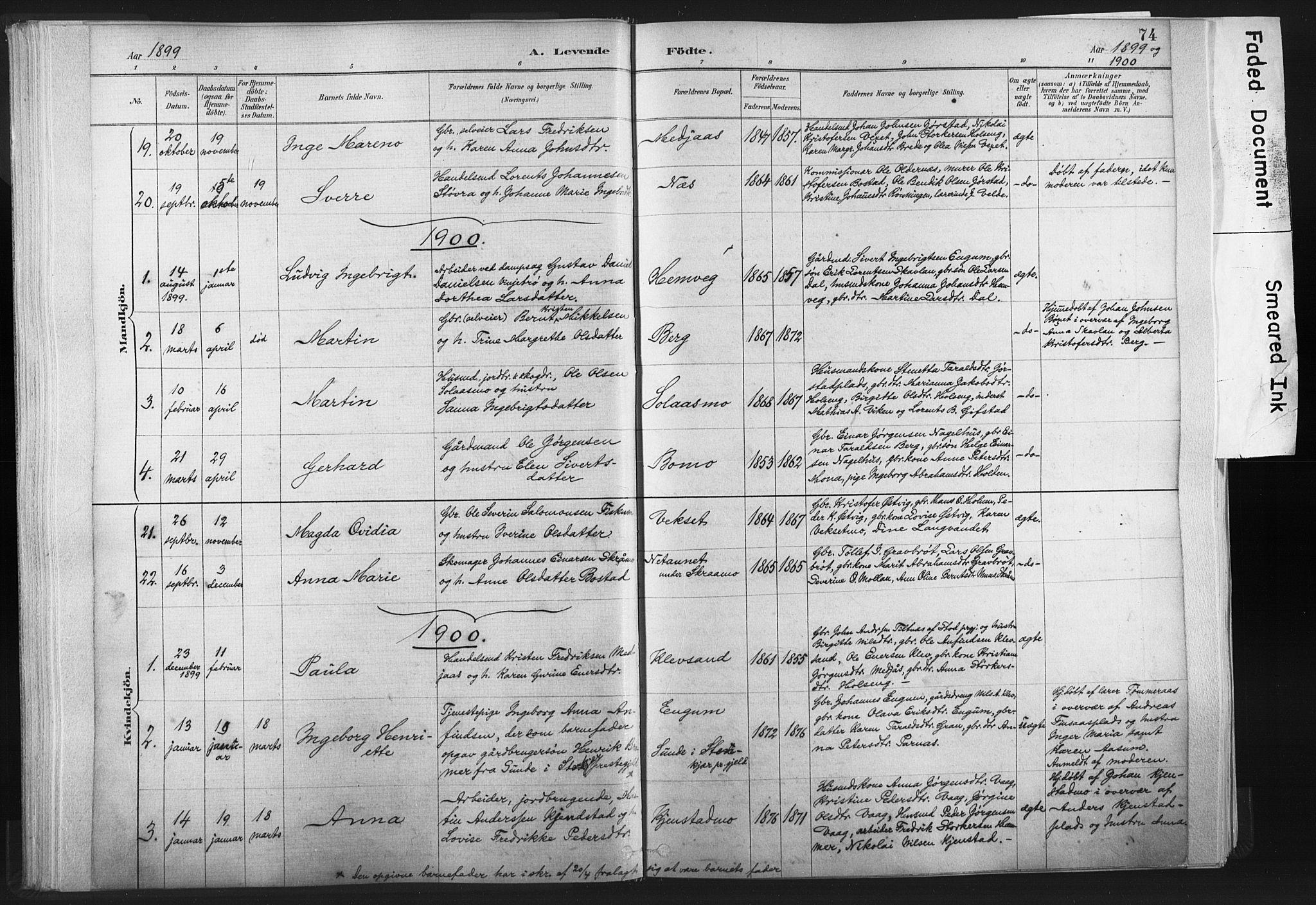 SAT, Ministerialprotokoller, klokkerbøker og fødselsregistre - Nord-Trøndelag, 749/L0474: Ministerialbok nr. 749A08, 1887-1903, s. 74