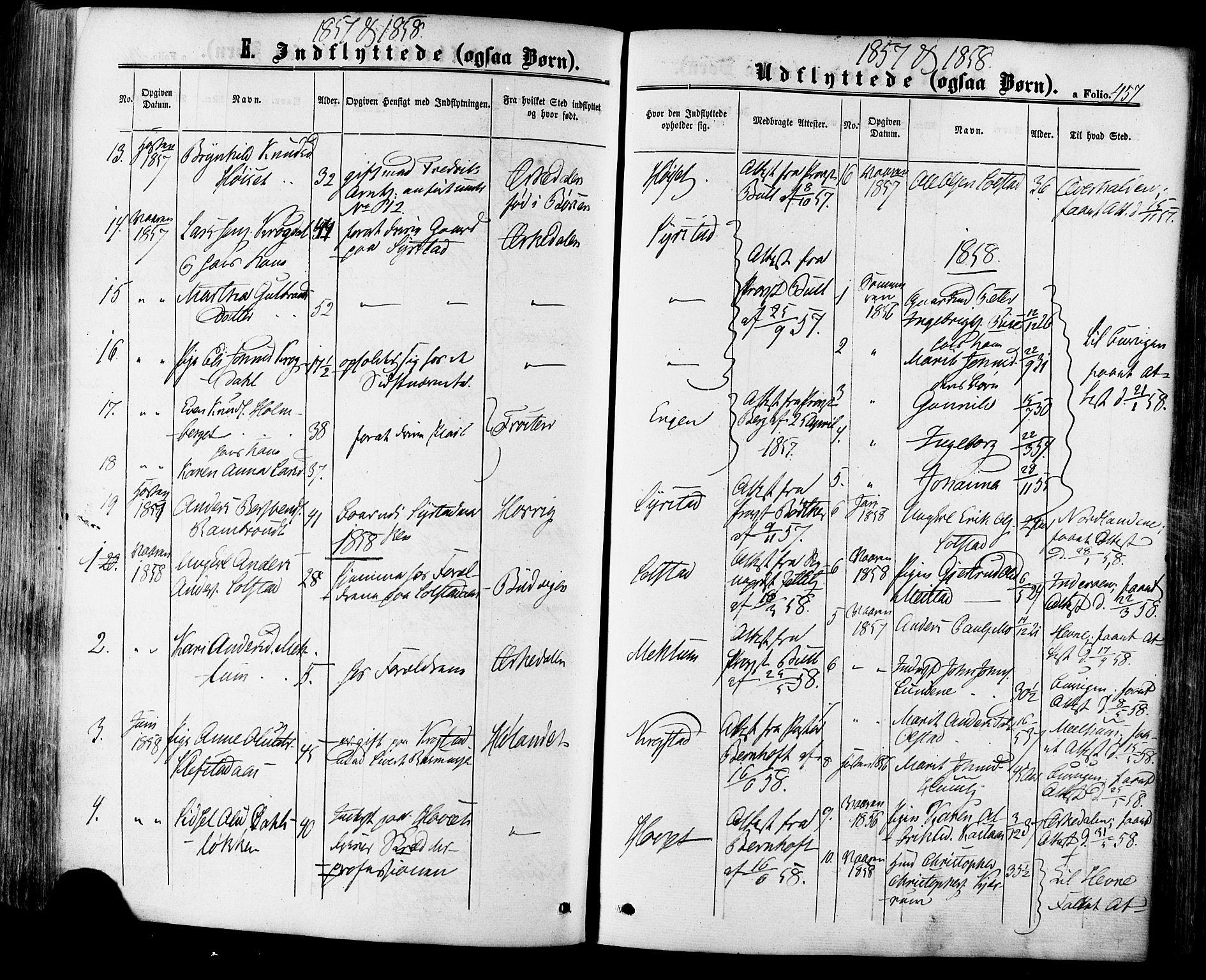 SAT, Ministerialprotokoller, klokkerbøker og fødselsregistre - Sør-Trøndelag, 665/L0772: Ministerialbok nr. 665A07, 1856-1878, s. 457