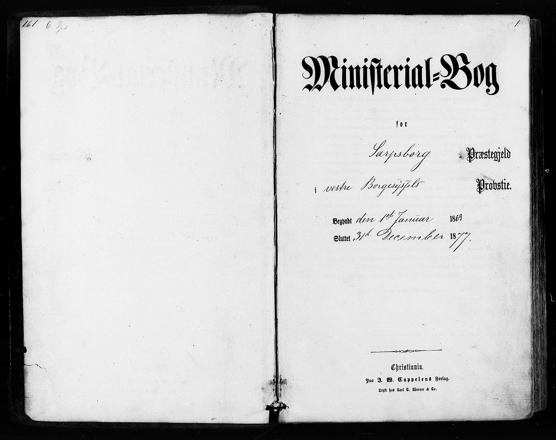 SAO, Sarpsborg prestekontor Kirkebøker, F/Fa/L0002: Ministerialbok nr. 2, 1869-1877, s. 1