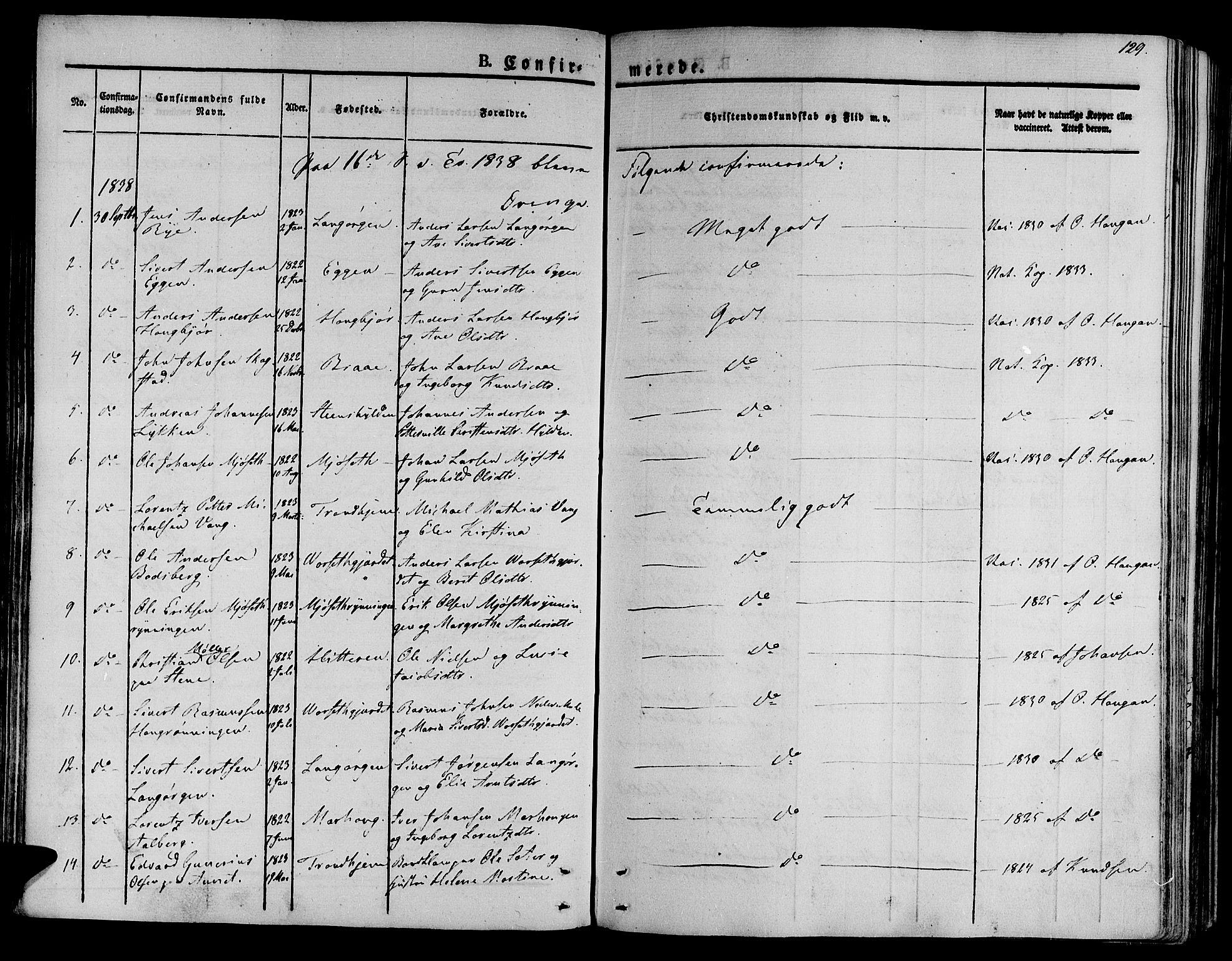 SAT, Ministerialprotokoller, klokkerbøker og fødselsregistre - Sør-Trøndelag, 612/L0374: Ministerialbok nr. 612A07 /1, 1829-1845, s. 129