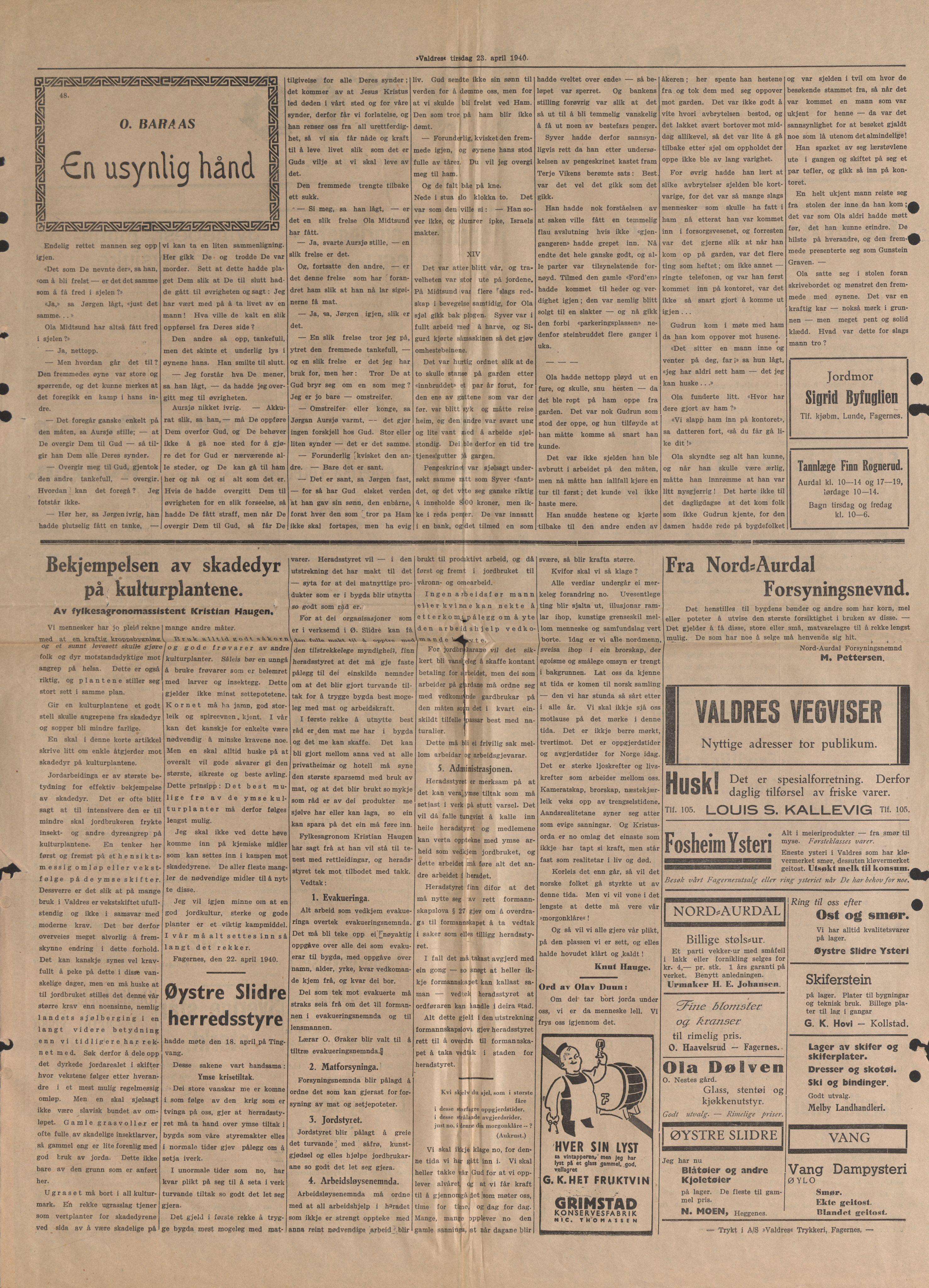 RA, Forsvaret, Forsvarets krigshistoriske avdeling, Y/Yb/L0104: II-C-11-430  -  4. Divisjon., 1940, s. 192