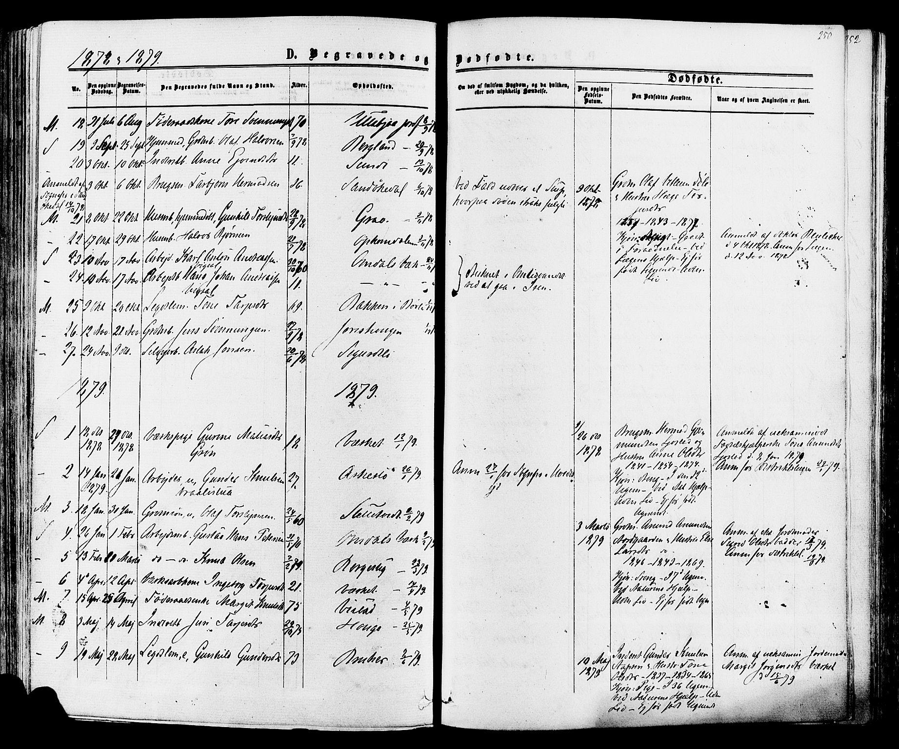 SAKO, Mo kirkebøker, F/Fa/L0006: Ministerialbok nr. I 6, 1865-1885, s. 250