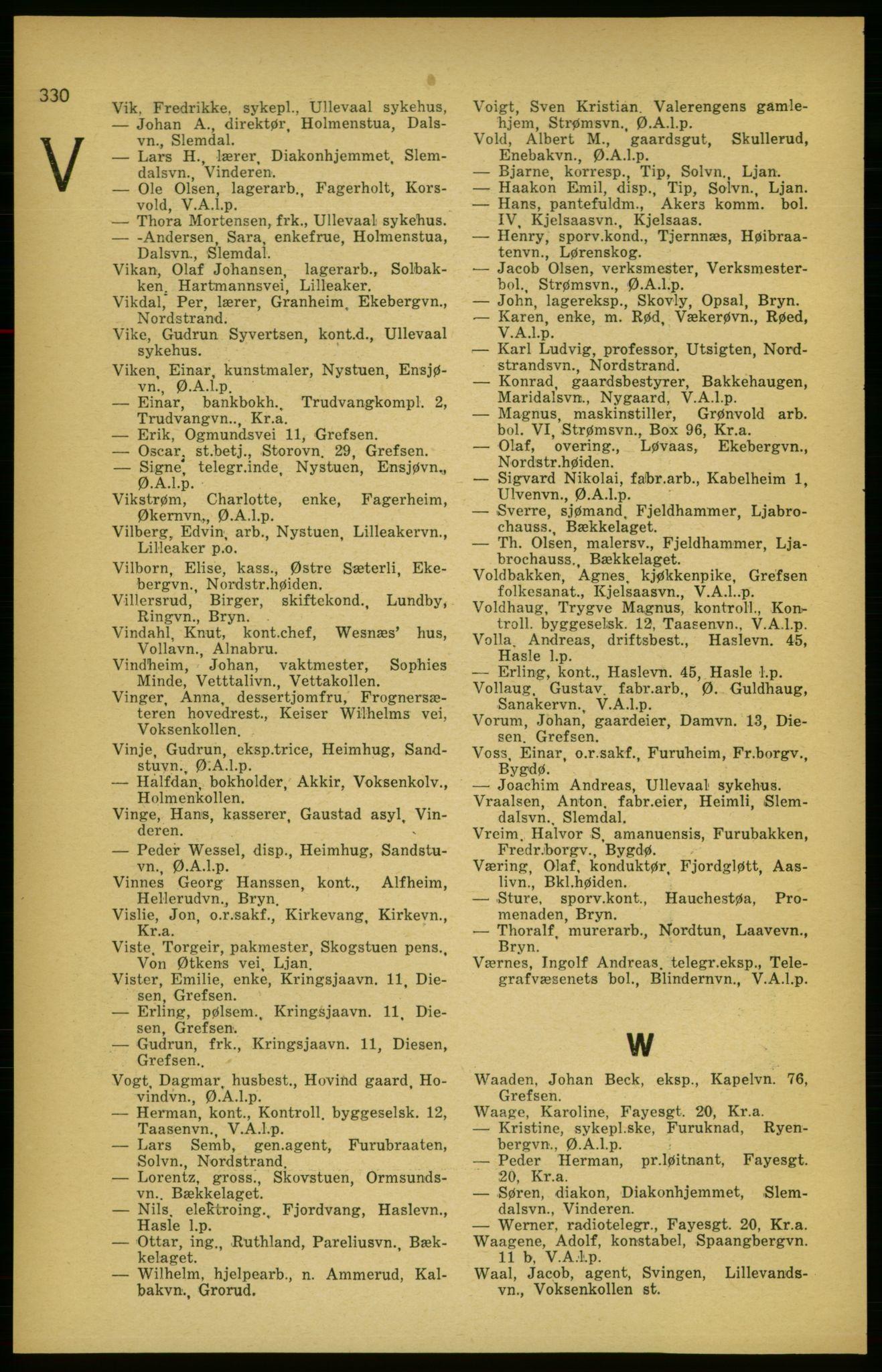RA, Aker adressebok/adressekalender (publikasjon)*, 1924-1925, s. 330