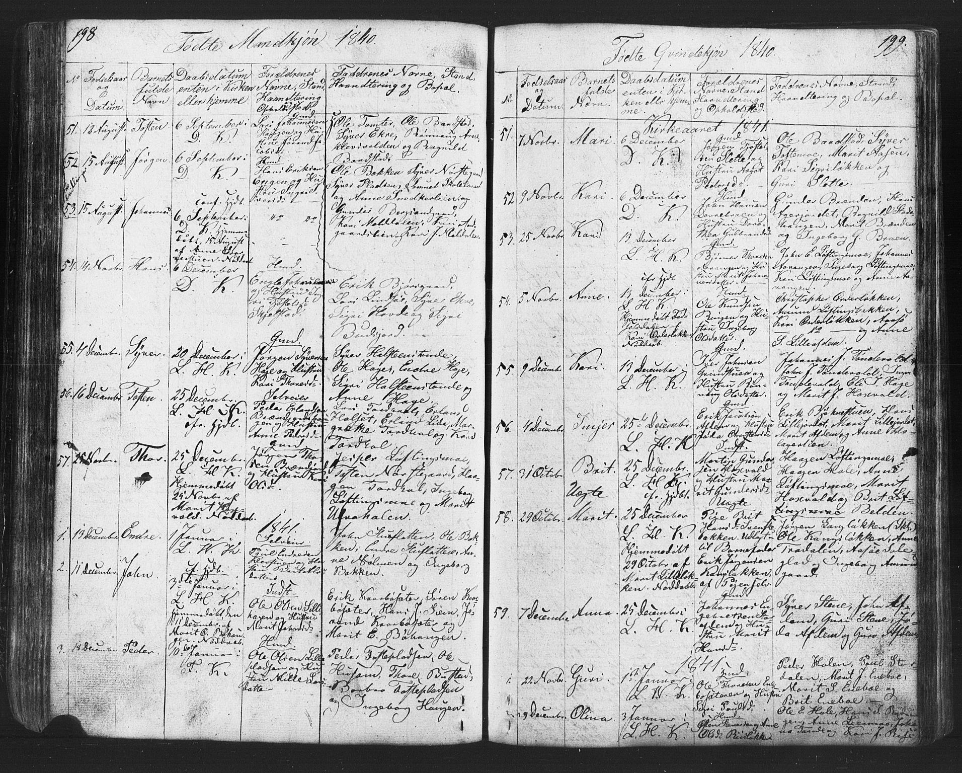 SAH, Lesja prestekontor, Klokkerbok nr. 2, 1832-1850, s. 198-199