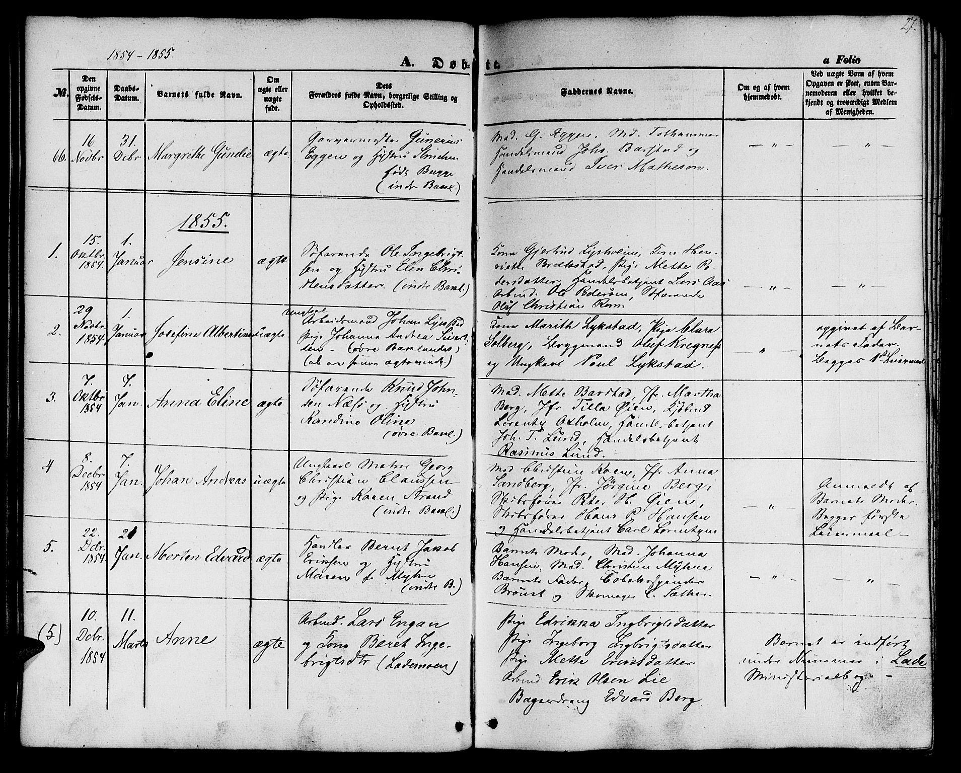 SAT, Ministerialprotokoller, klokkerbøker og fødselsregistre - Sør-Trøndelag, 604/L0184: Ministerialbok nr. 604A05, 1851-1860, s. 27
