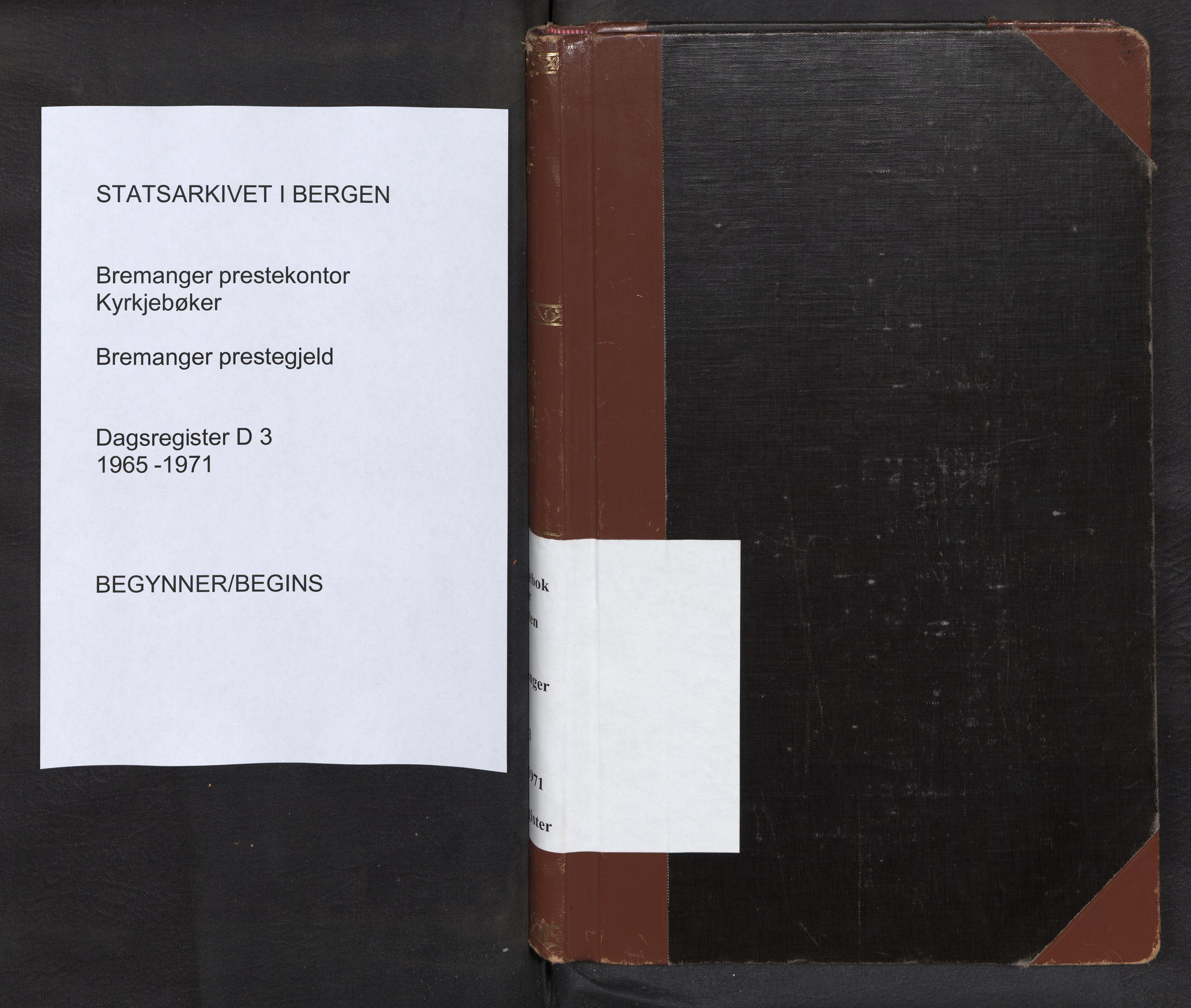 SAB, Bremanger Sokneprestembete, Dagregister nr. D 3, 1965-1971
