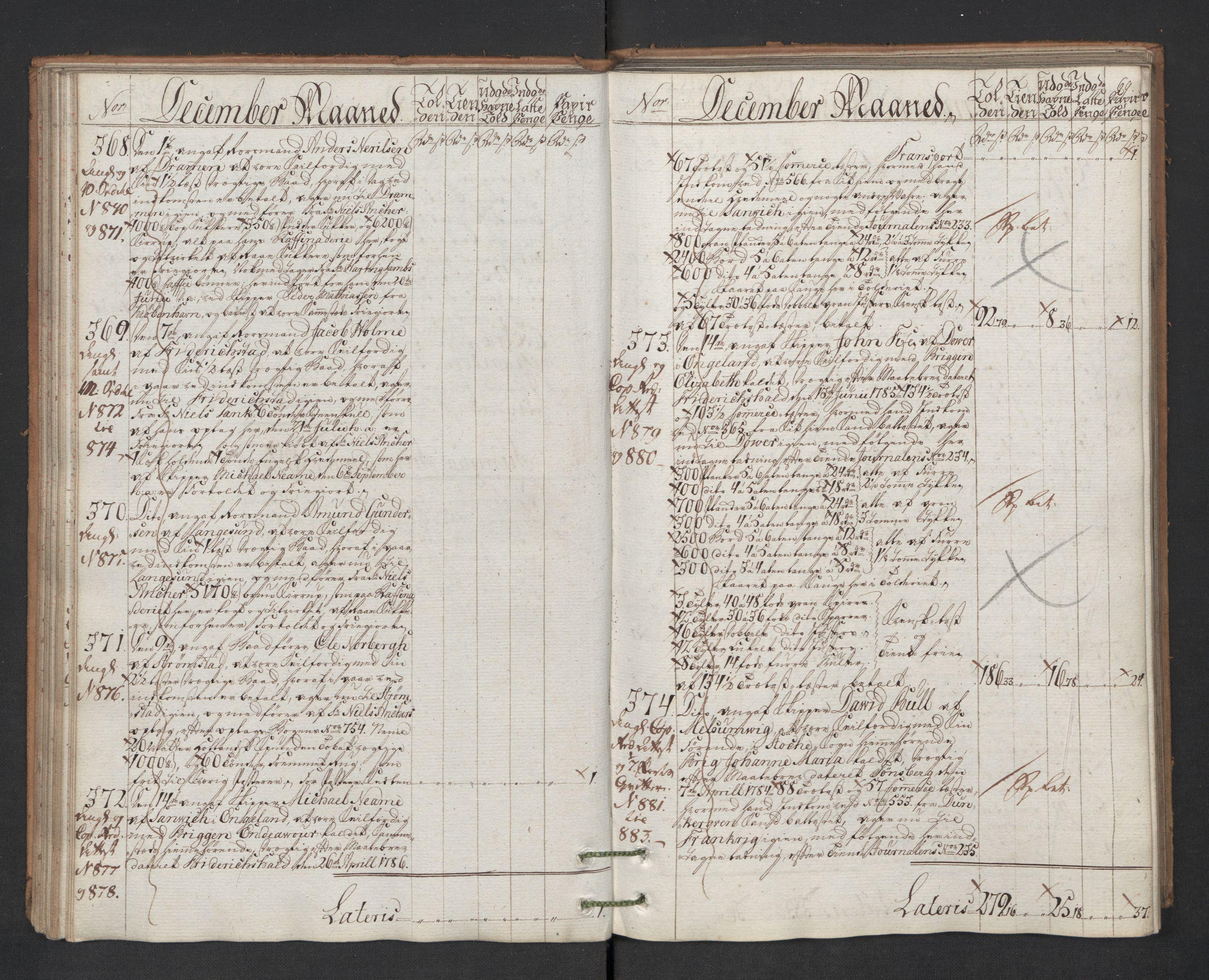 RA, Generaltollkammeret, tollregnskaper, R01/L0131: Tollregnskaper Fredrikshald, 1786, s. 68b-69a