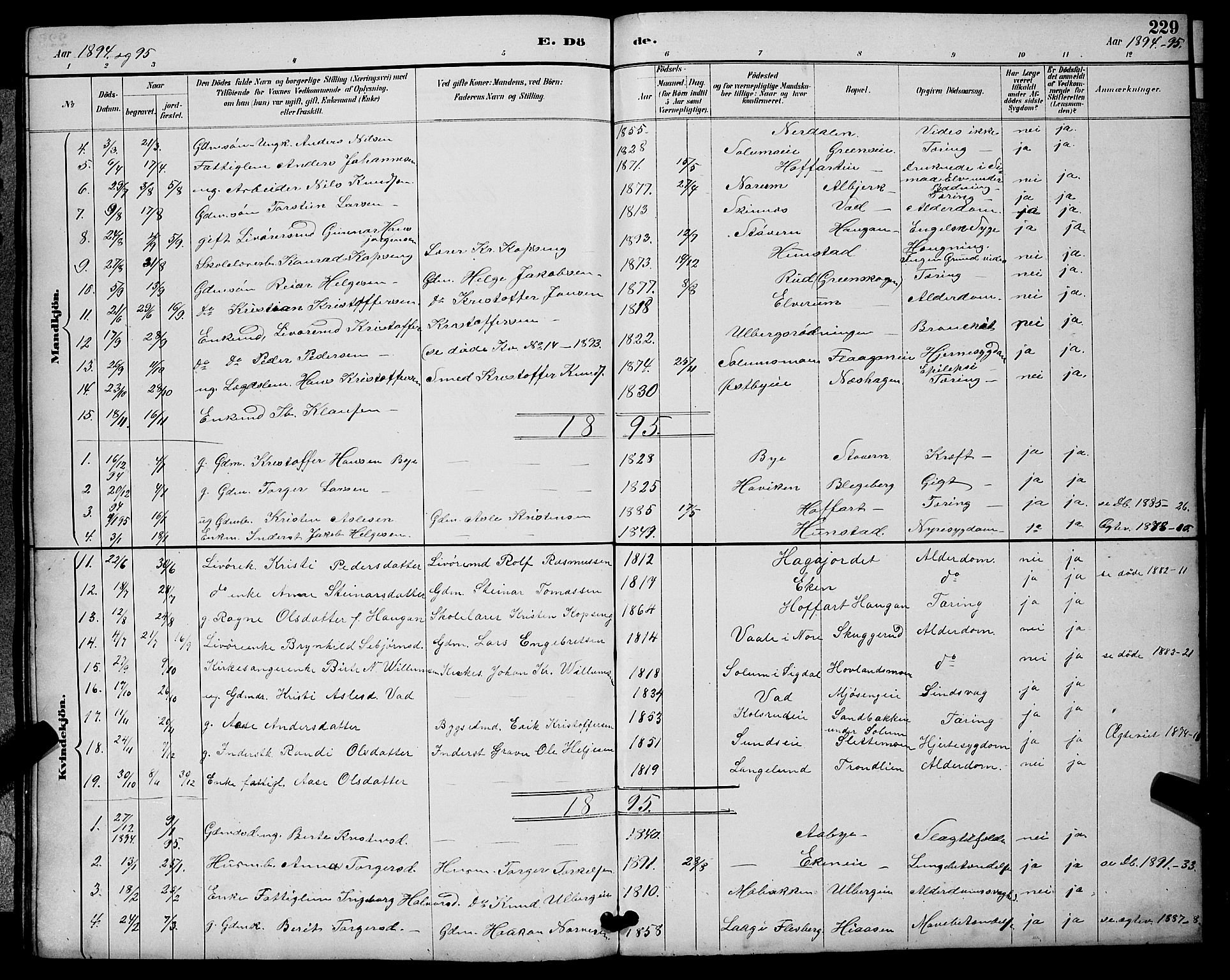 SAKO, Sigdal kirkebøker, G/Ga/L0005: Klokkerbok nr. I 5, 1886-1900, s. 229