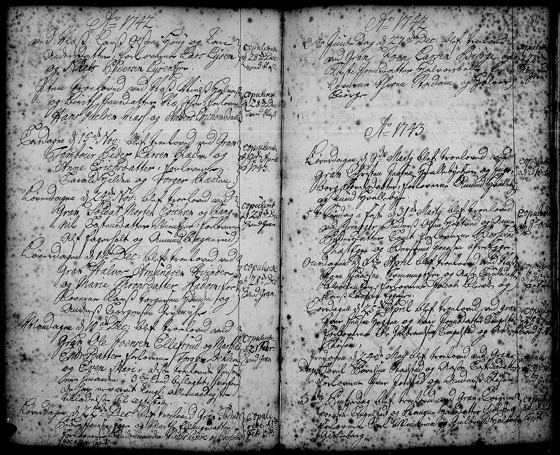 SAH, Gran prestekontor, Ministerialbok nr. 2, 1732-1744, s. 181