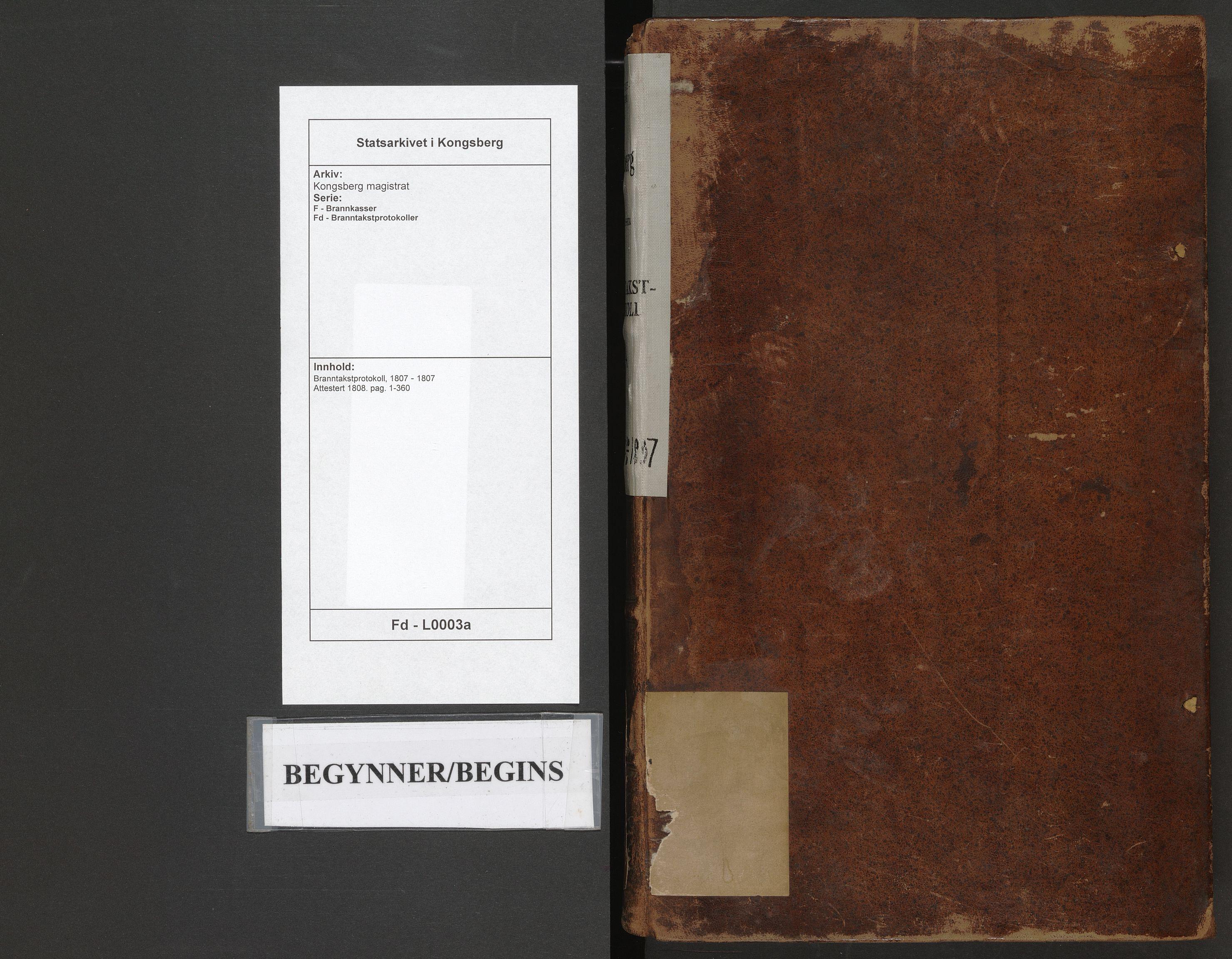 SAKO, Kongsberg magistrat, F/Fd/L0003a: Branntakstprotokoll, 1807