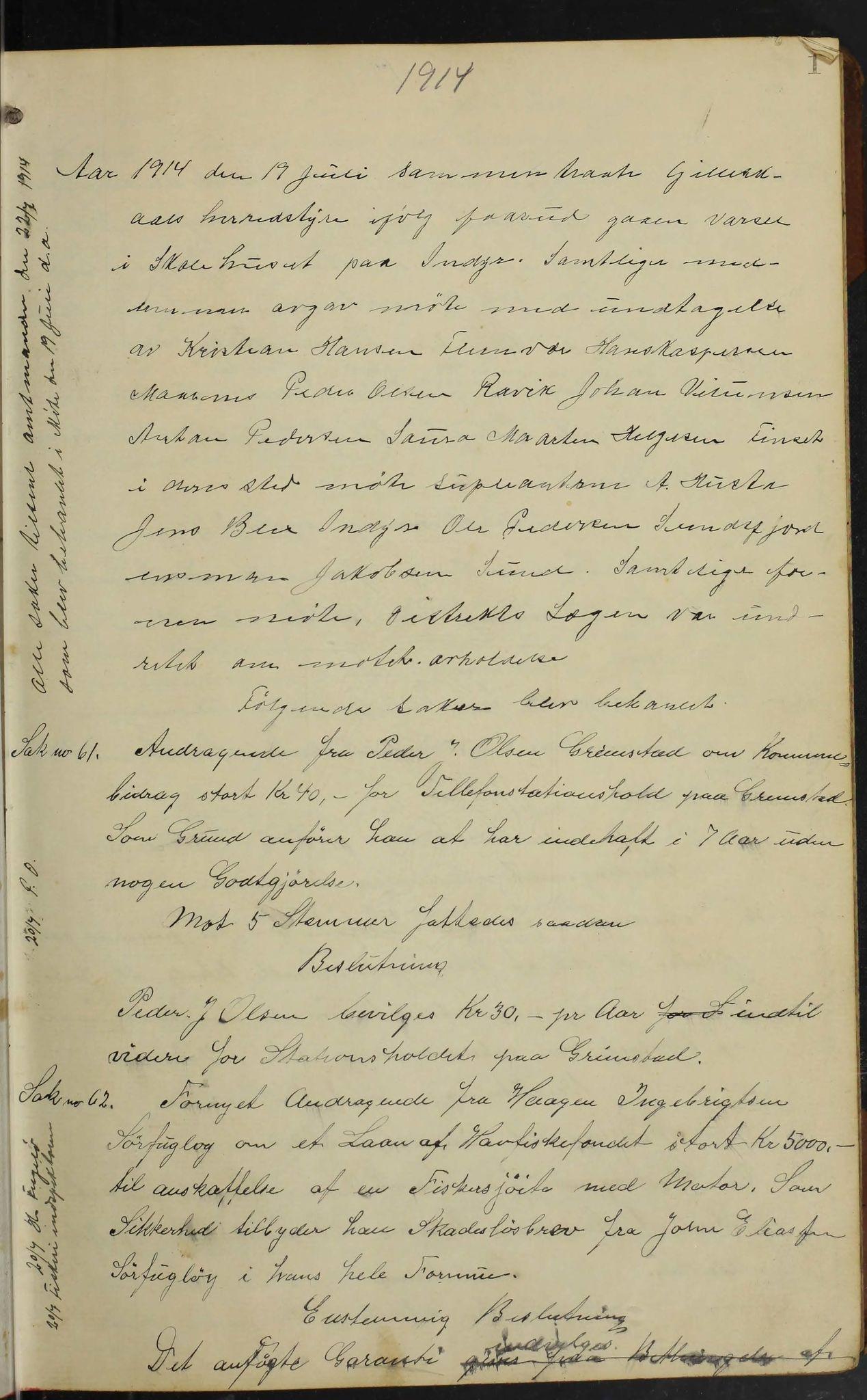 AIN, Gildeskål kommune. Formannskapet, 100/L0004: Møtebok formannskapet, 1914-1918, s. 1