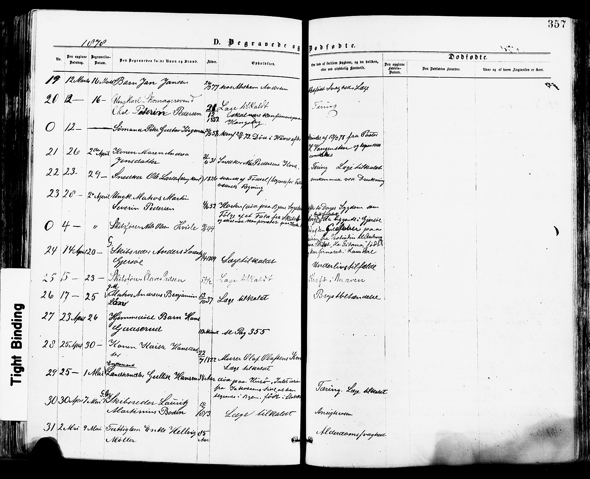 SAKO, Tønsberg kirkebøker, F/Fa/L0010: Ministerialbok nr. I 10, 1874-1880, s. 357