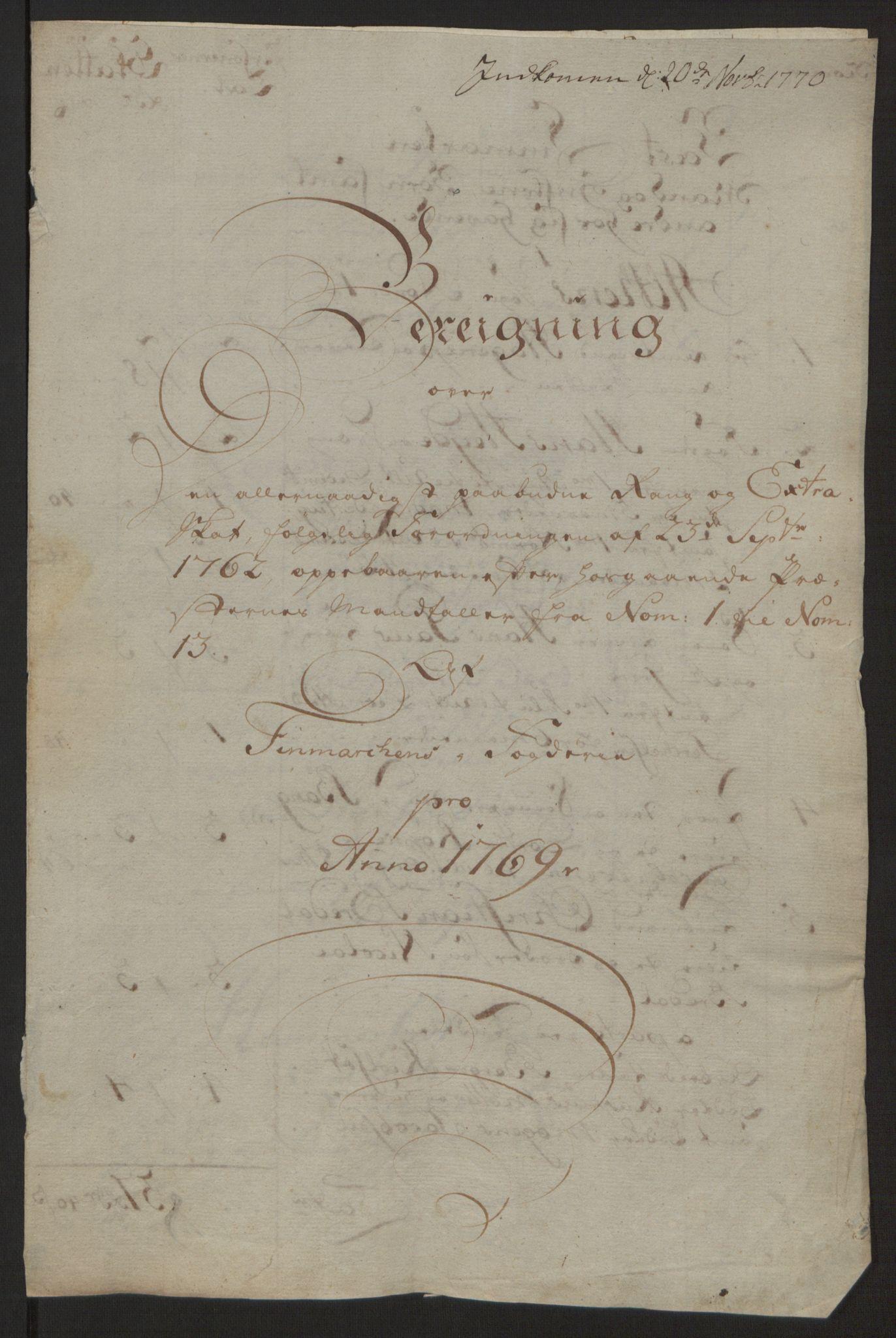 RA, Rentekammeret inntil 1814, Reviderte regnskaper, Fogderegnskap, R69/L4910: Ekstraskatten  Finnmark/Vardøhus, 1762-1772, s. 334