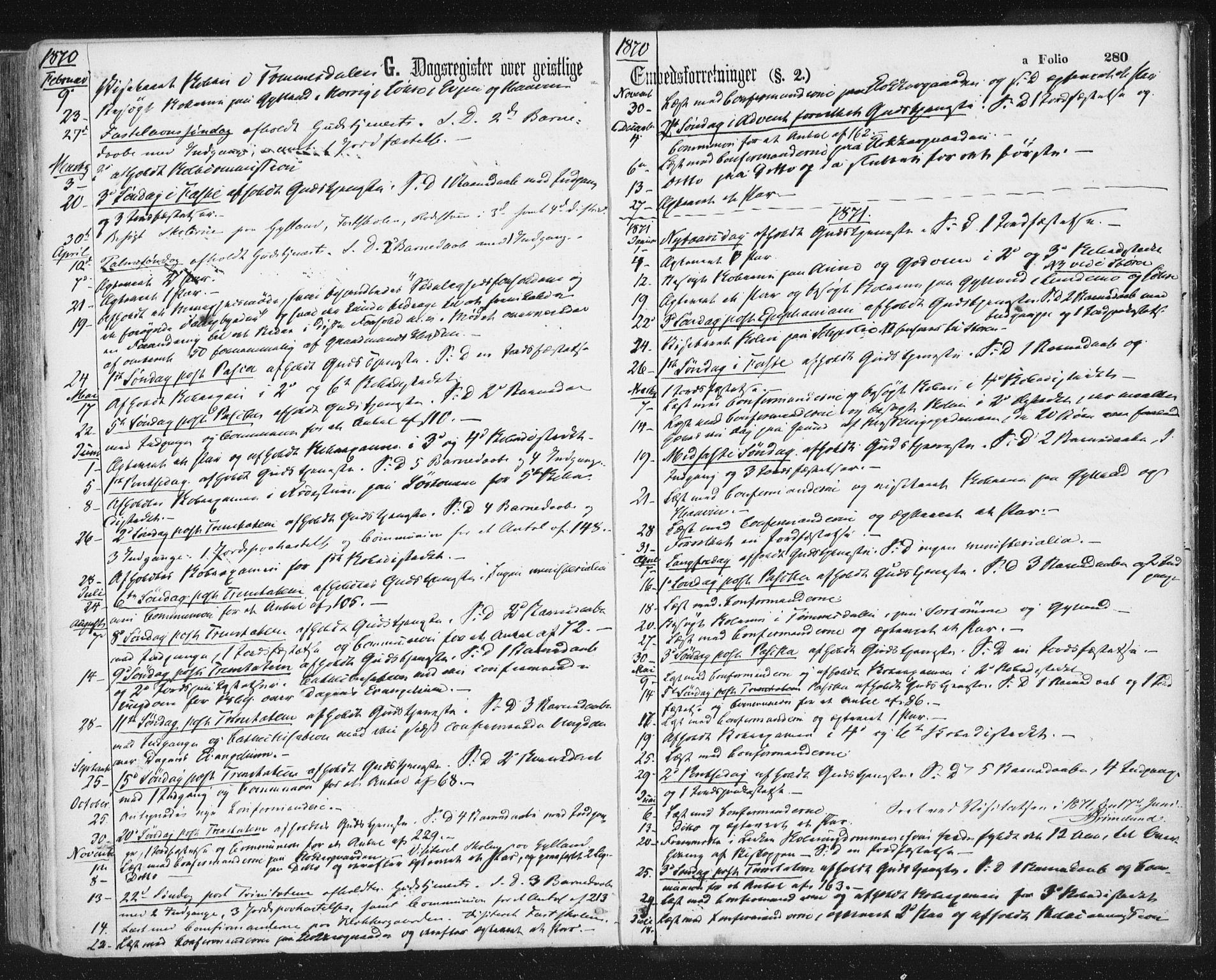 SAT, Ministerialprotokoller, klokkerbøker og fødselsregistre - Sør-Trøndelag, 692/L1104: Ministerialbok nr. 692A04, 1862-1878, s. 280
