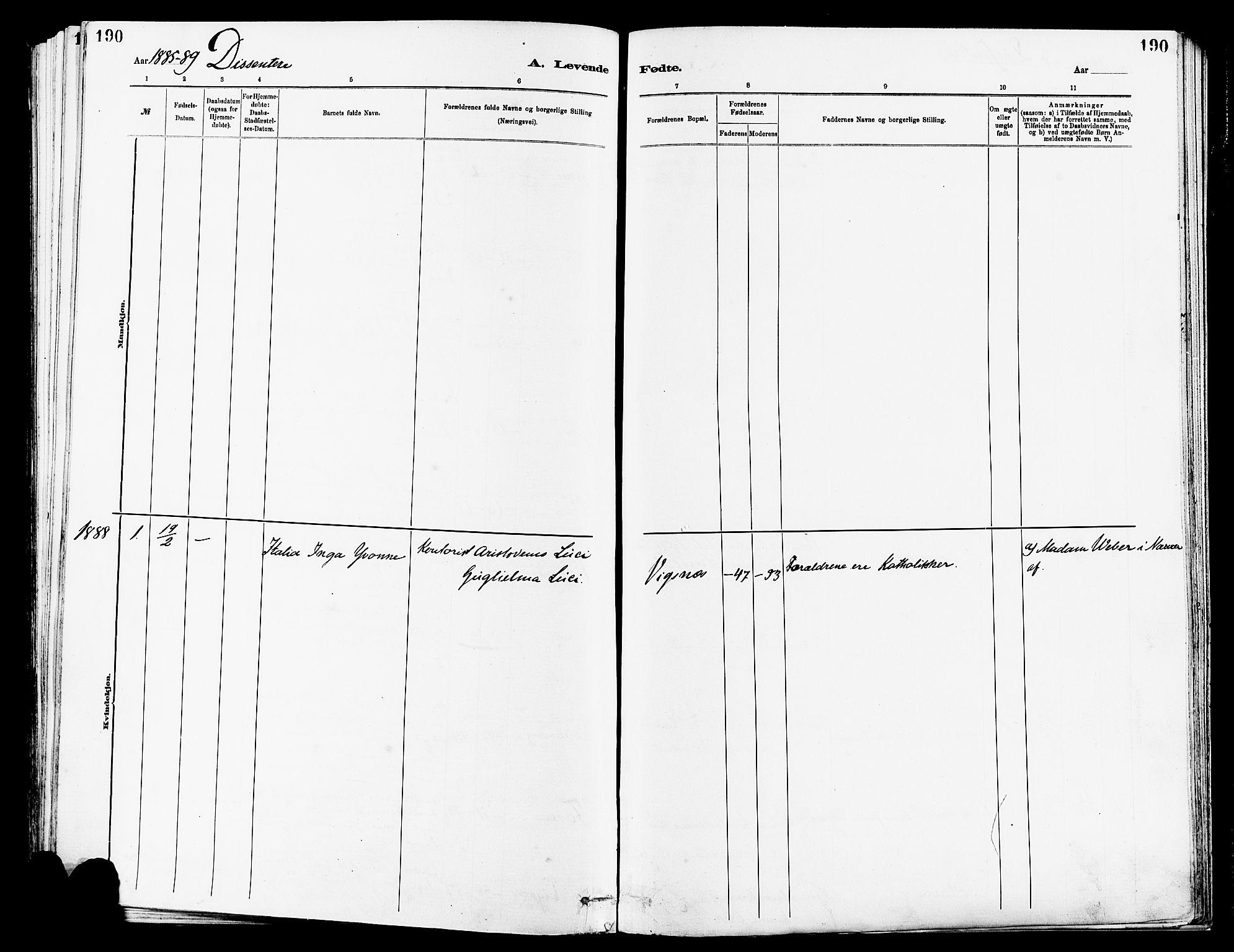 SAST, Avaldsnes sokneprestkontor, H/Ha/Haa/L0014: Ministerialbok nr. A 14, 1880-1889, s. 190