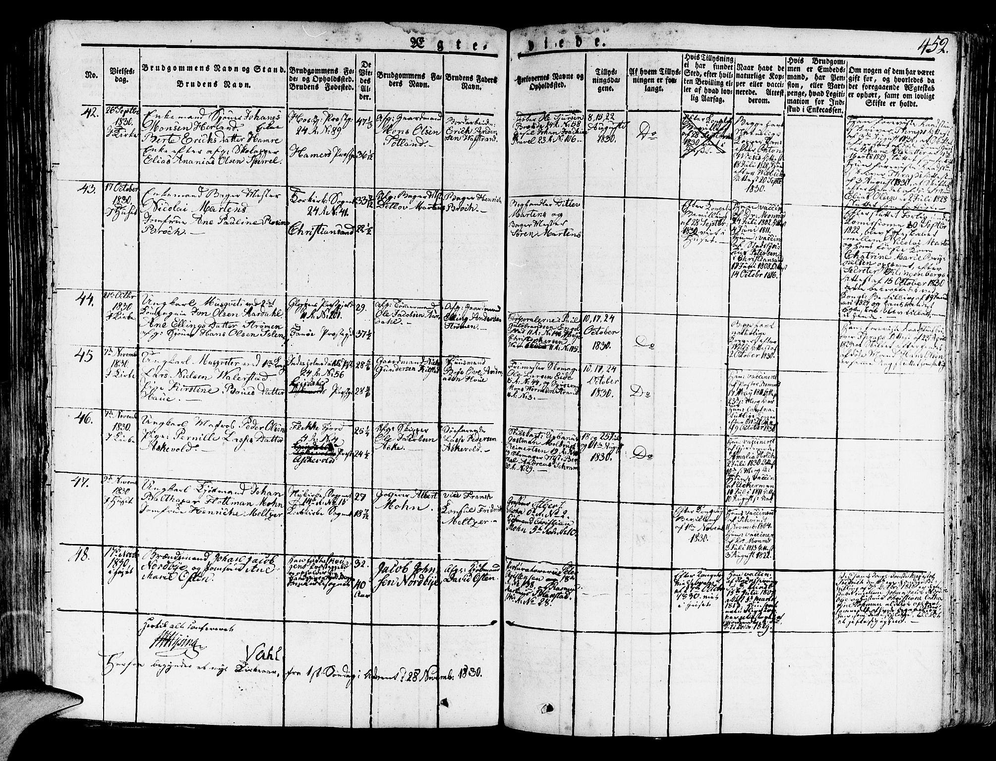 SAB, Korskirken Sokneprestembete, H/Haa/L0014: Ministerialbok nr. A 14, 1823-1835, s. 452