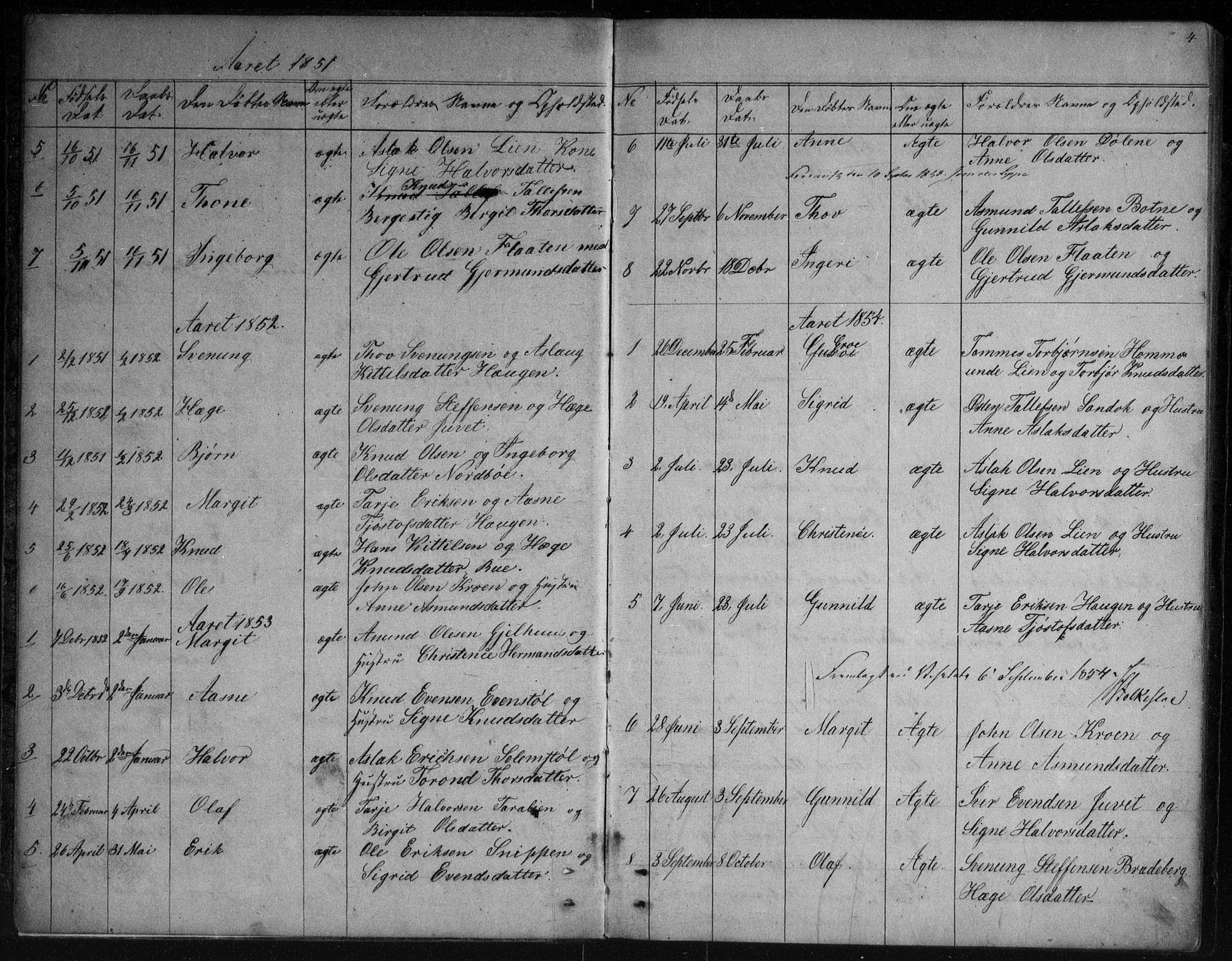 SAKO, Vinje kirkebøker, G/Gb/L0002: Klokkerbok nr. II 2, 1849-1891, s. 4