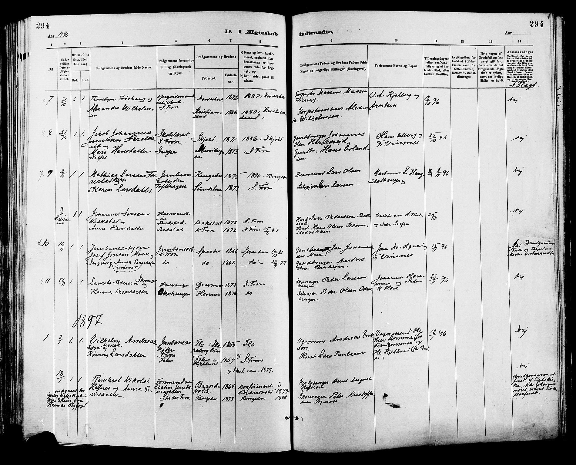 SAH, Sør-Fron prestekontor, H/Ha/Haa/L0003: Ministerialbok nr. 3, 1881-1897, s. 294