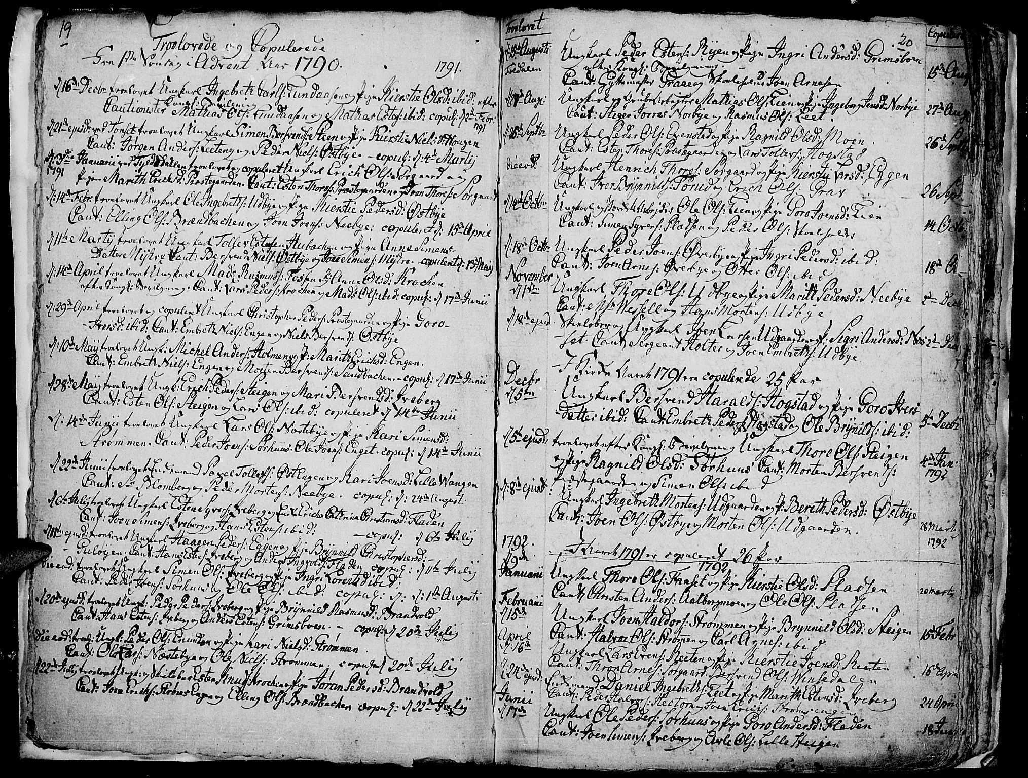 SAH, Tynset prestekontor, Ministerialbok nr. 14, 1790-1800, s. 19-20