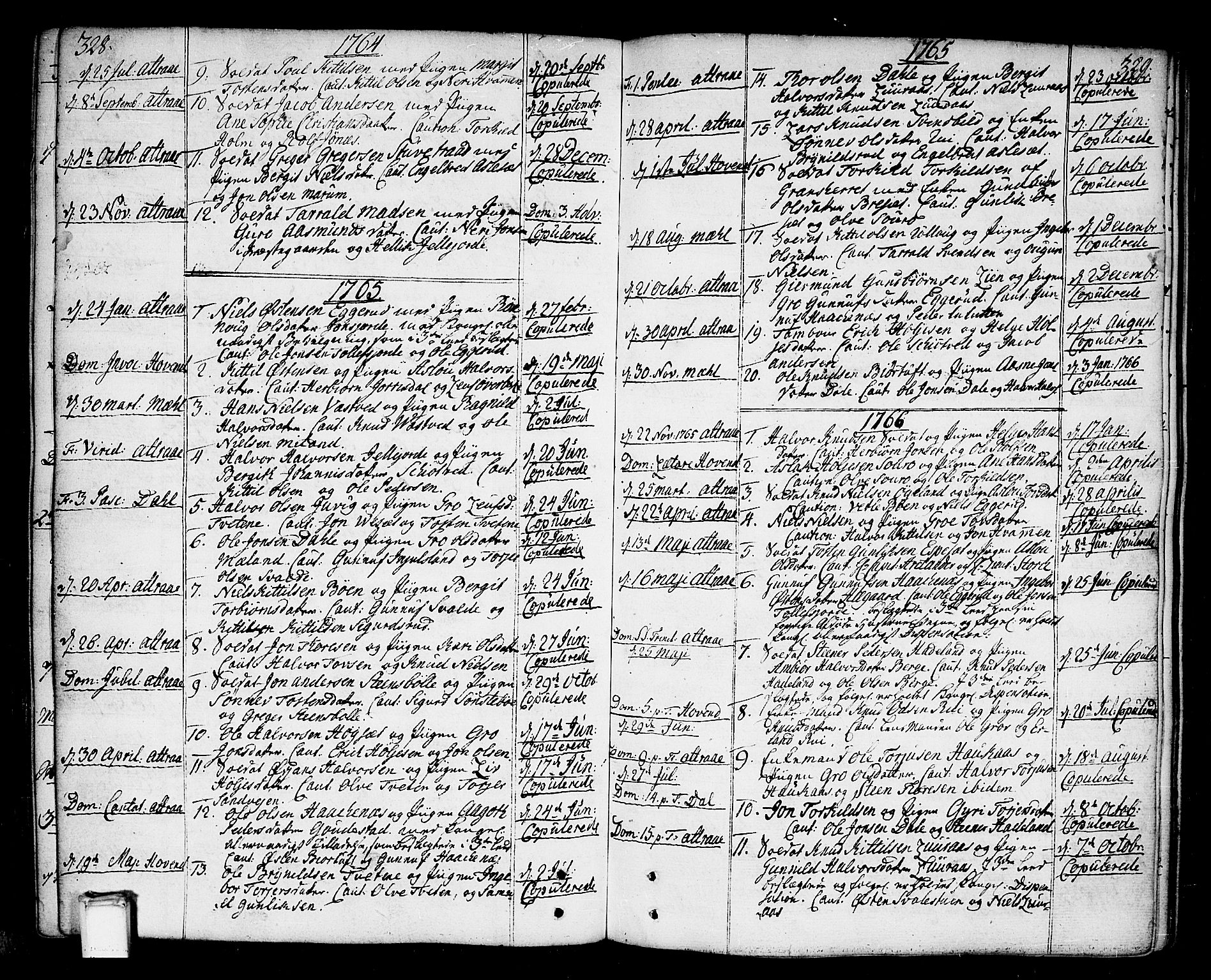 SAKO, Tinn kirkebøker, F/Fa/L0002: Ministerialbok nr. I 2, 1757-1810, s. 328-329