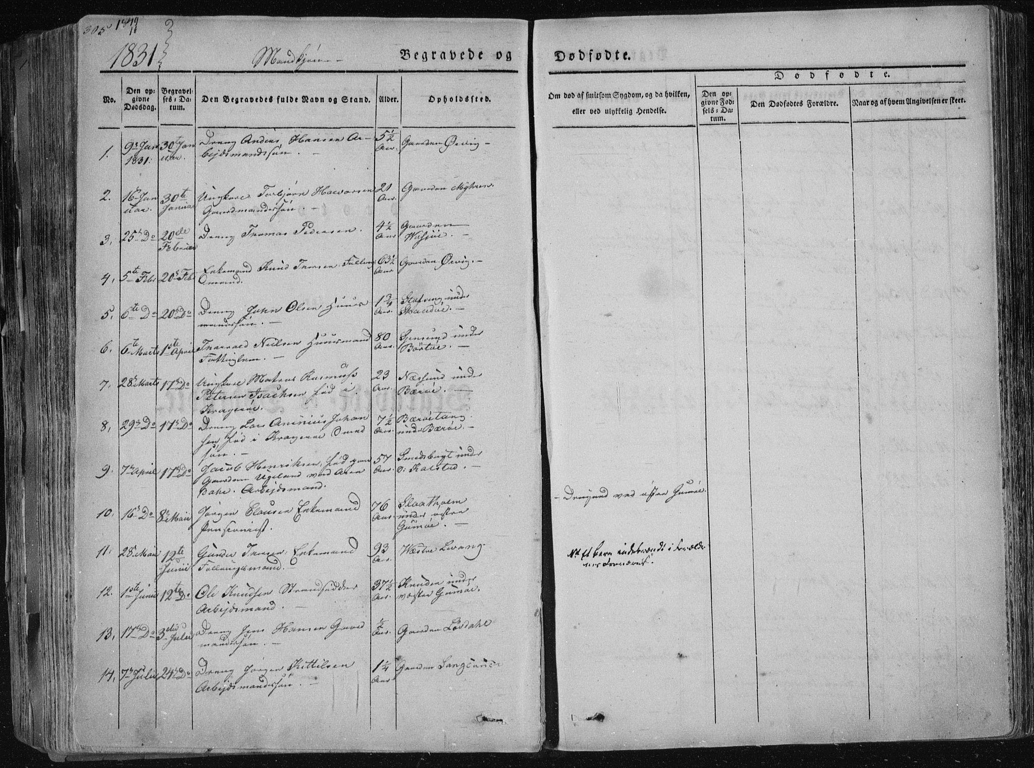 SAKO, Sannidal kirkebøker, F/Fa/L0006: Ministerialbok nr. 6, 1831-1847, s. 305