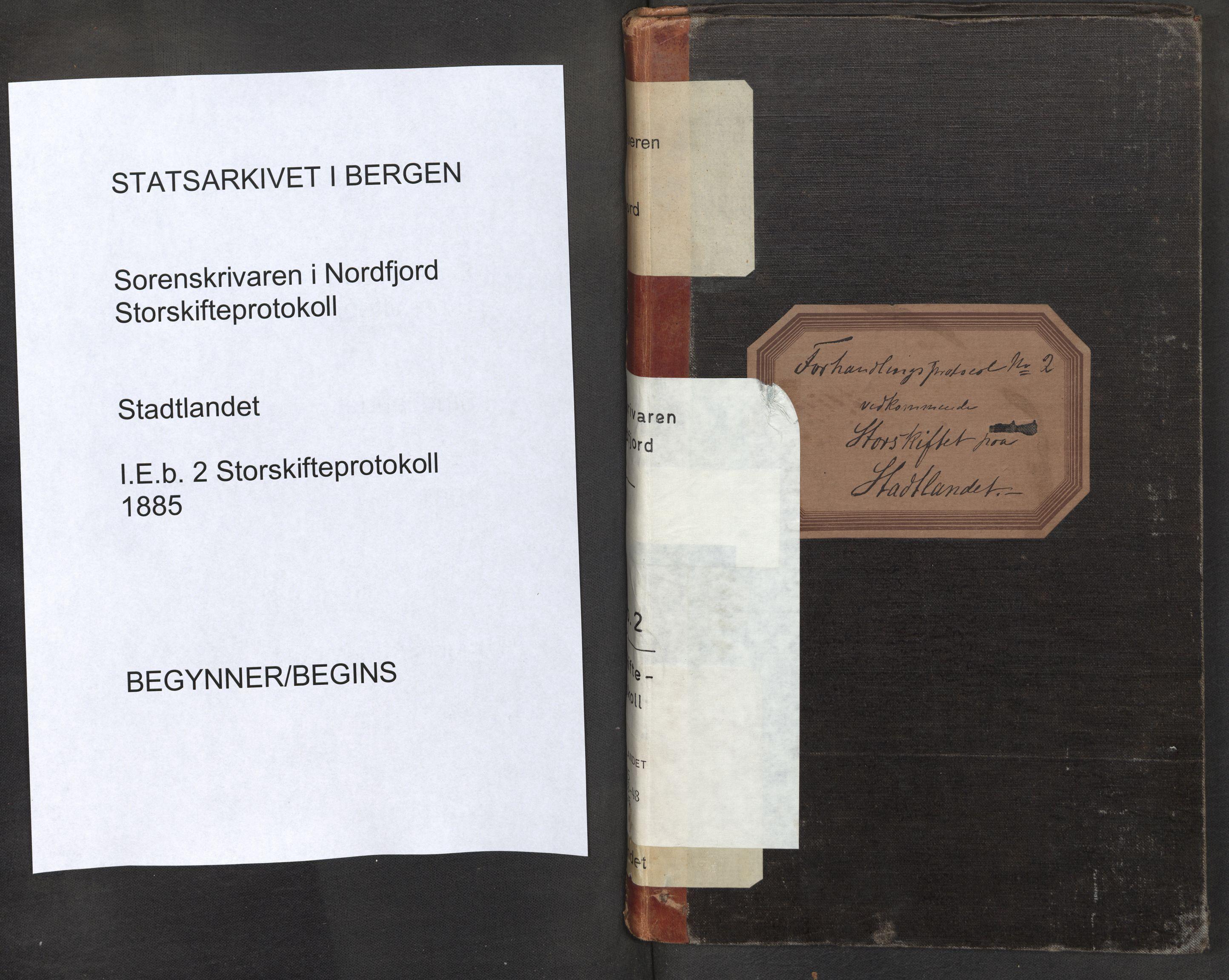 SAB, Nordfjord sorenskriveri, 01/01eb/L0002: Ekstrarettsprotokollar. Storskifte, 1885