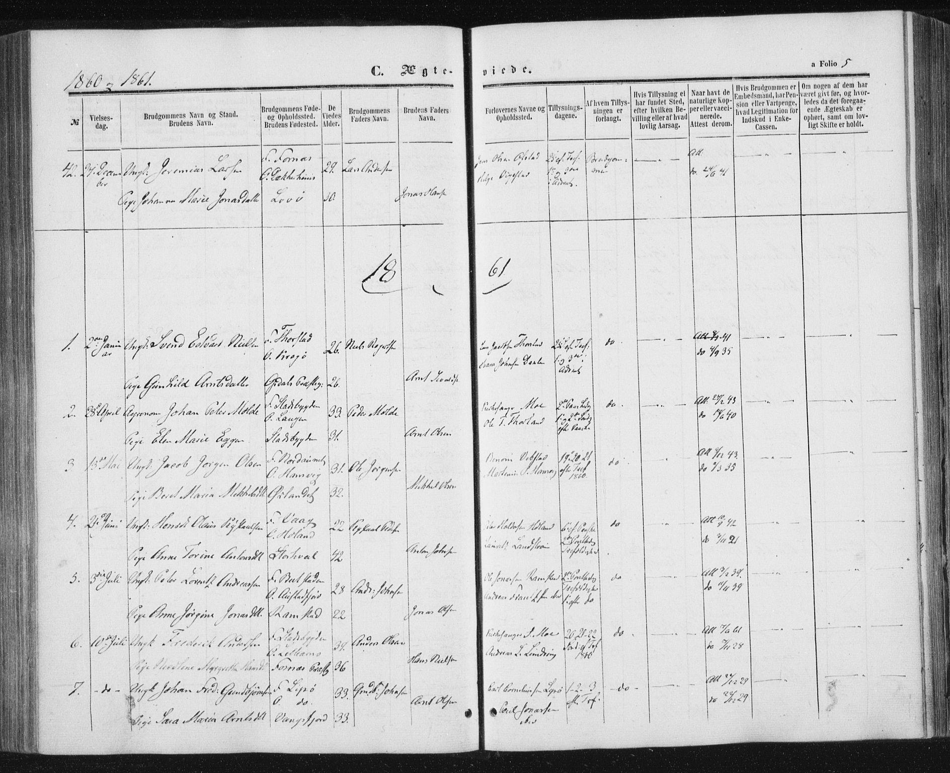 SAT, Ministerialprotokoller, klokkerbøker og fødselsregistre - Nord-Trøndelag, 784/L0670: Ministerialbok nr. 784A05, 1860-1876, s. 5