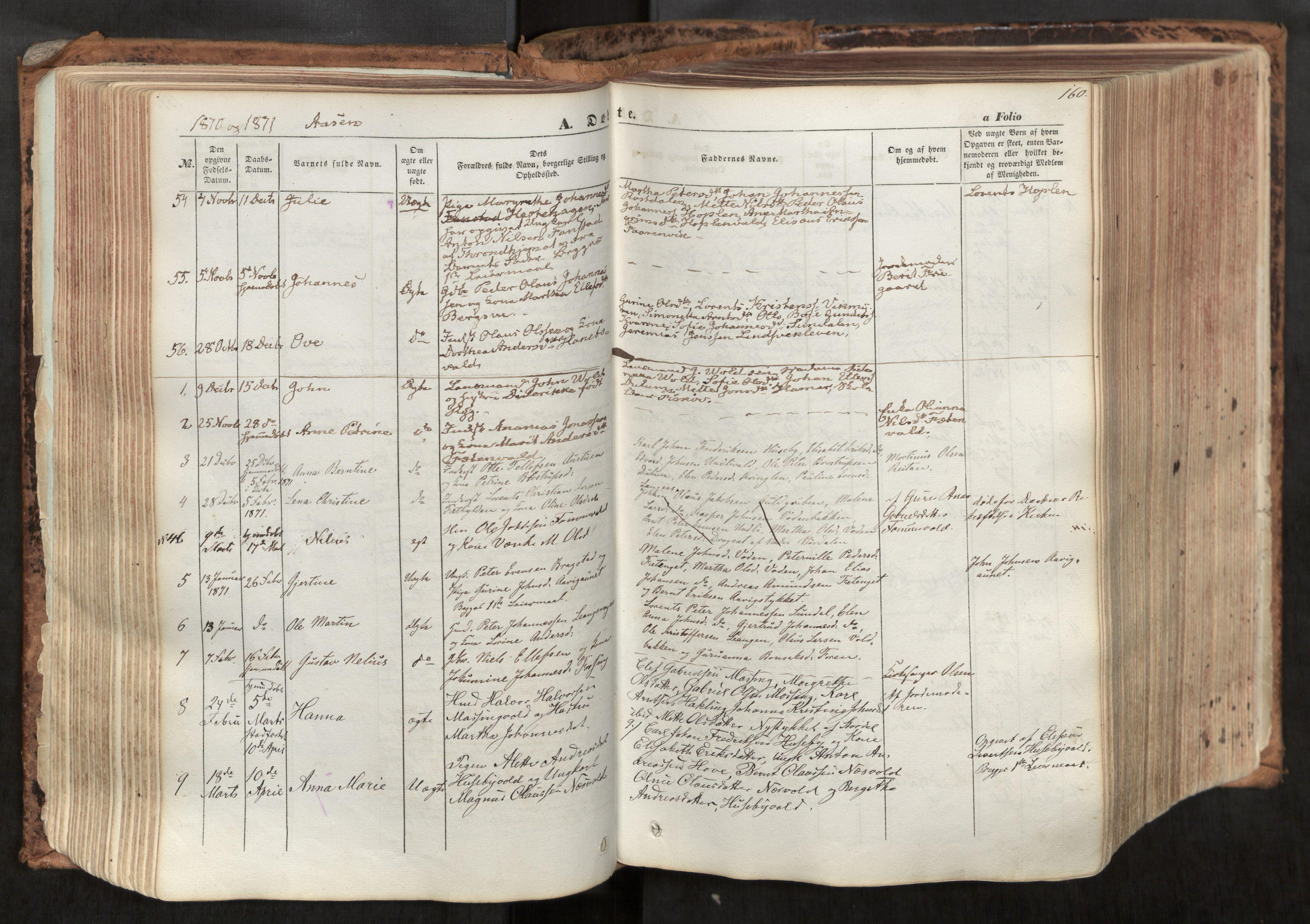 SAT, Ministerialprotokoller, klokkerbøker og fødselsregistre - Nord-Trøndelag, 713/L0116: Ministerialbok nr. 713A07, 1850-1877, s. 160