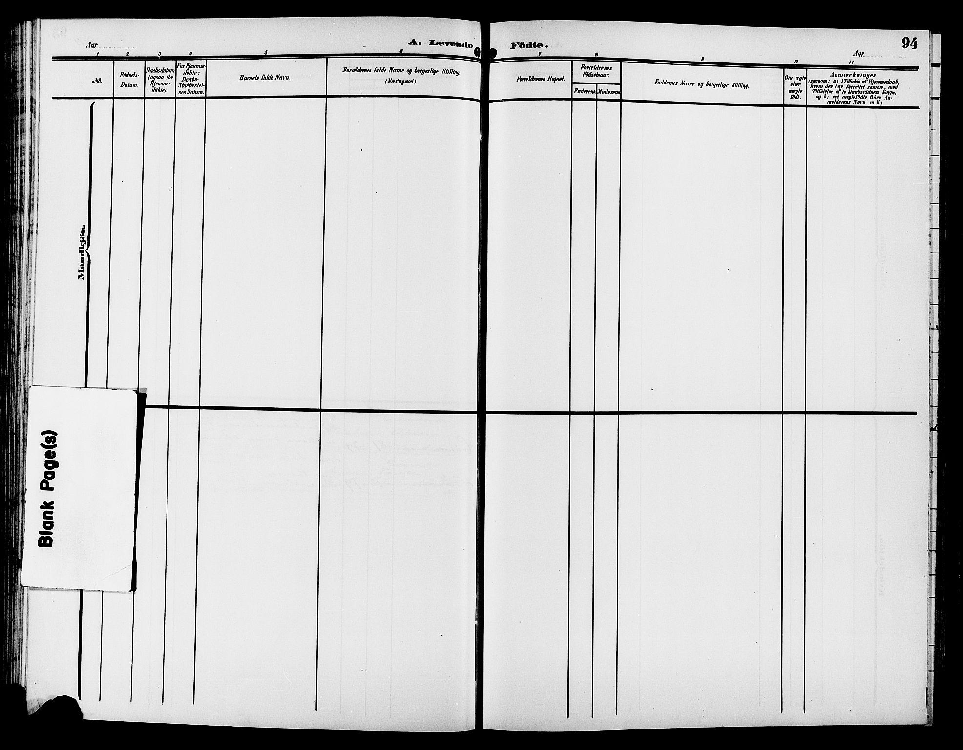SAH, Gran prestekontor, Klokkerbok nr. 6, 1901-1911, s. 94