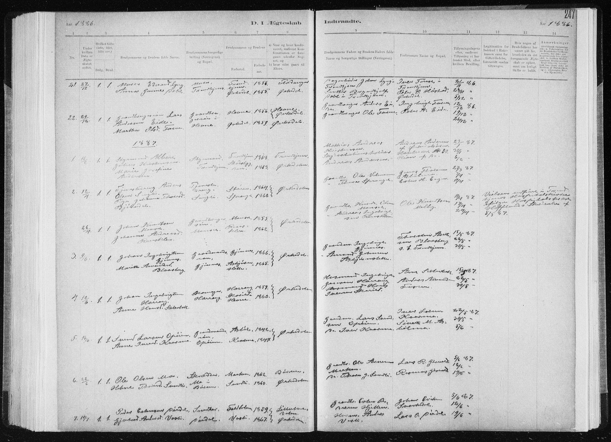 SAT, Ministerialprotokoller, klokkerbøker og fødselsregistre - Sør-Trøndelag, 668/L0818: Klokkerbok nr. 668C07, 1885-1898, s. 247