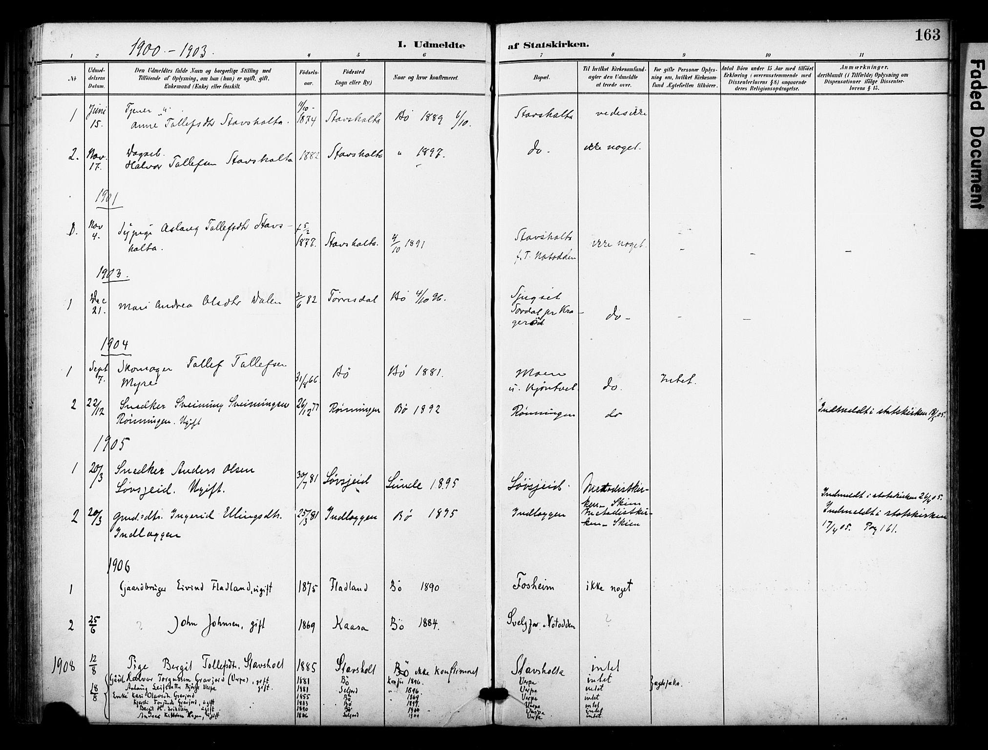 SAKO, Bø kirkebøker, F/Fa/L0012: Ministerialbok nr. 12, 1900-1908, s. 163