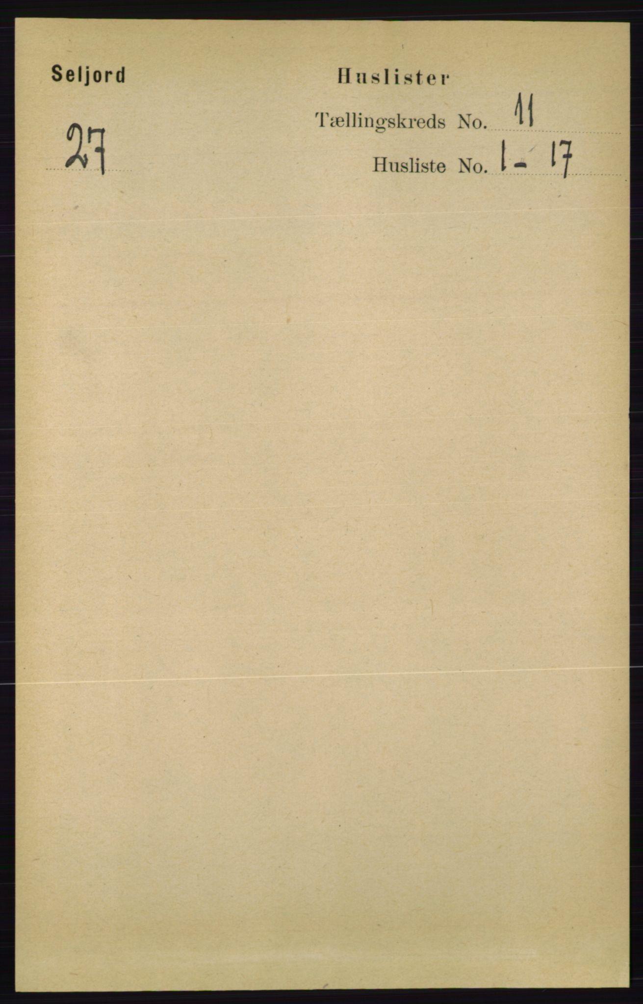RA, Folketelling 1891 for 0828 Seljord herred, 1891, s. 3761