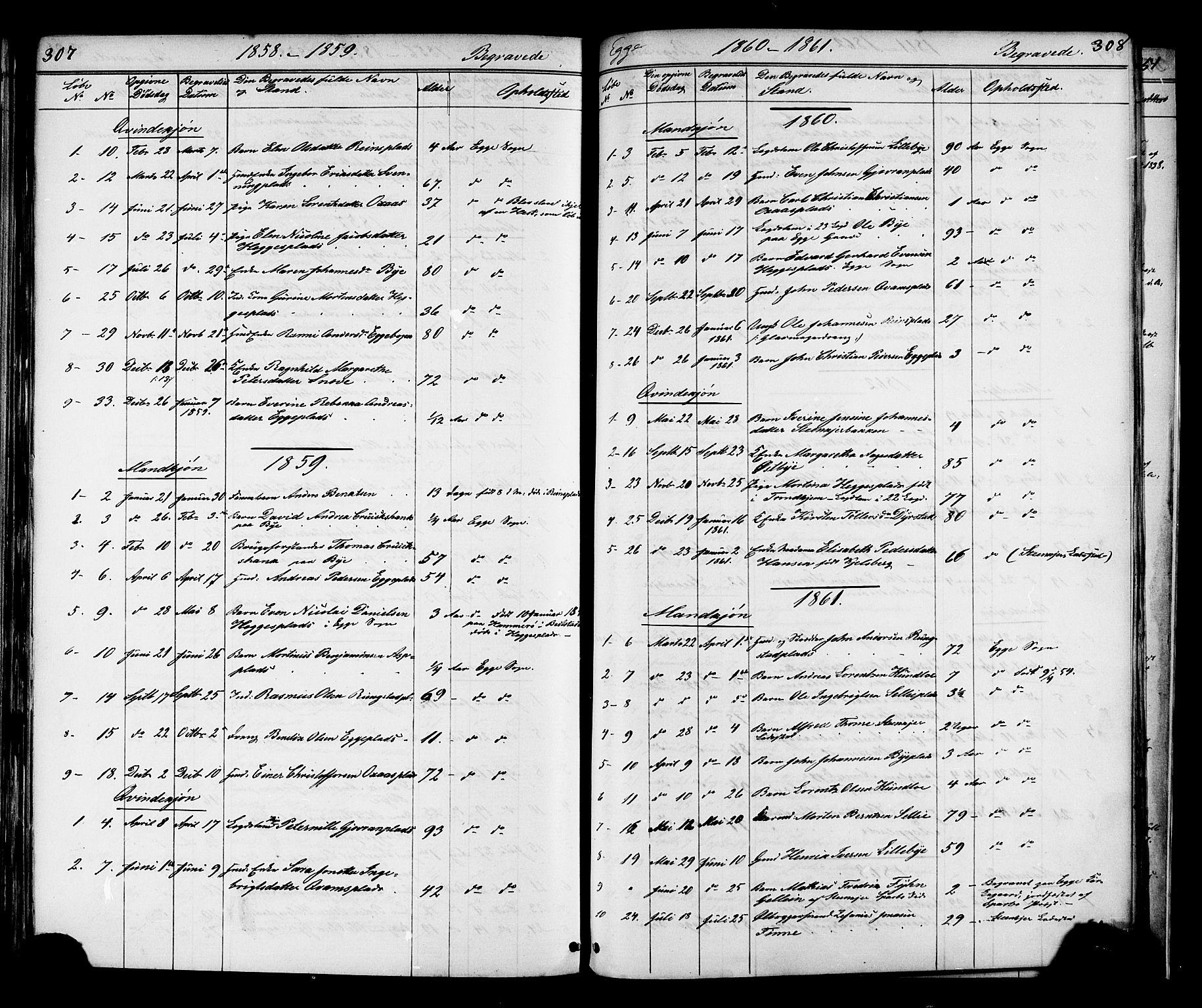 SAT, Ministerialprotokoller, klokkerbøker og fødselsregistre - Nord-Trøndelag, 739/L0367: Ministerialbok nr. 739A01 /3, 1838-1868, s. 307-308