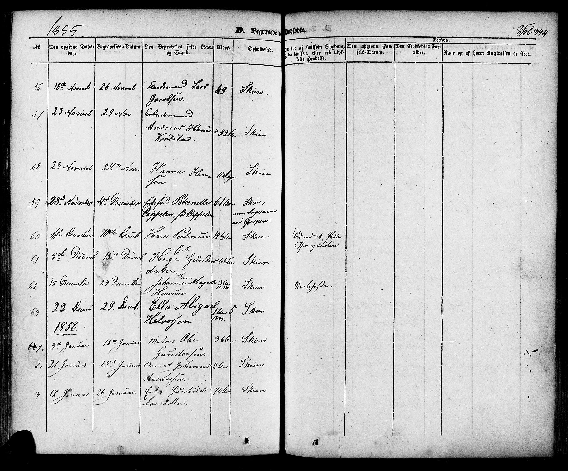 SAKO, Skien kirkebøker, F/Fa/L0006a: Ministerialbok nr. 6A, 1843-1856, s. 394