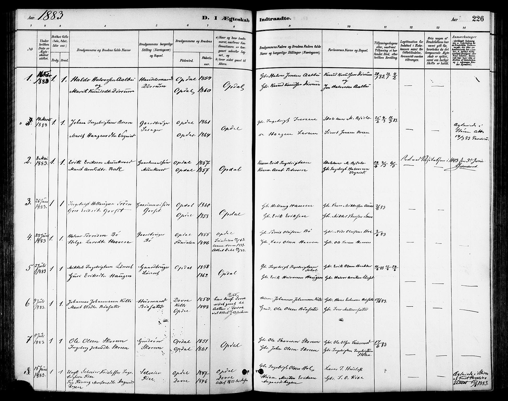 SAT, Ministerialprotokoller, klokkerbøker og fødselsregistre - Sør-Trøndelag, 678/L0901: Ministerialbok nr. 678A10, 1881-1894, s. 226