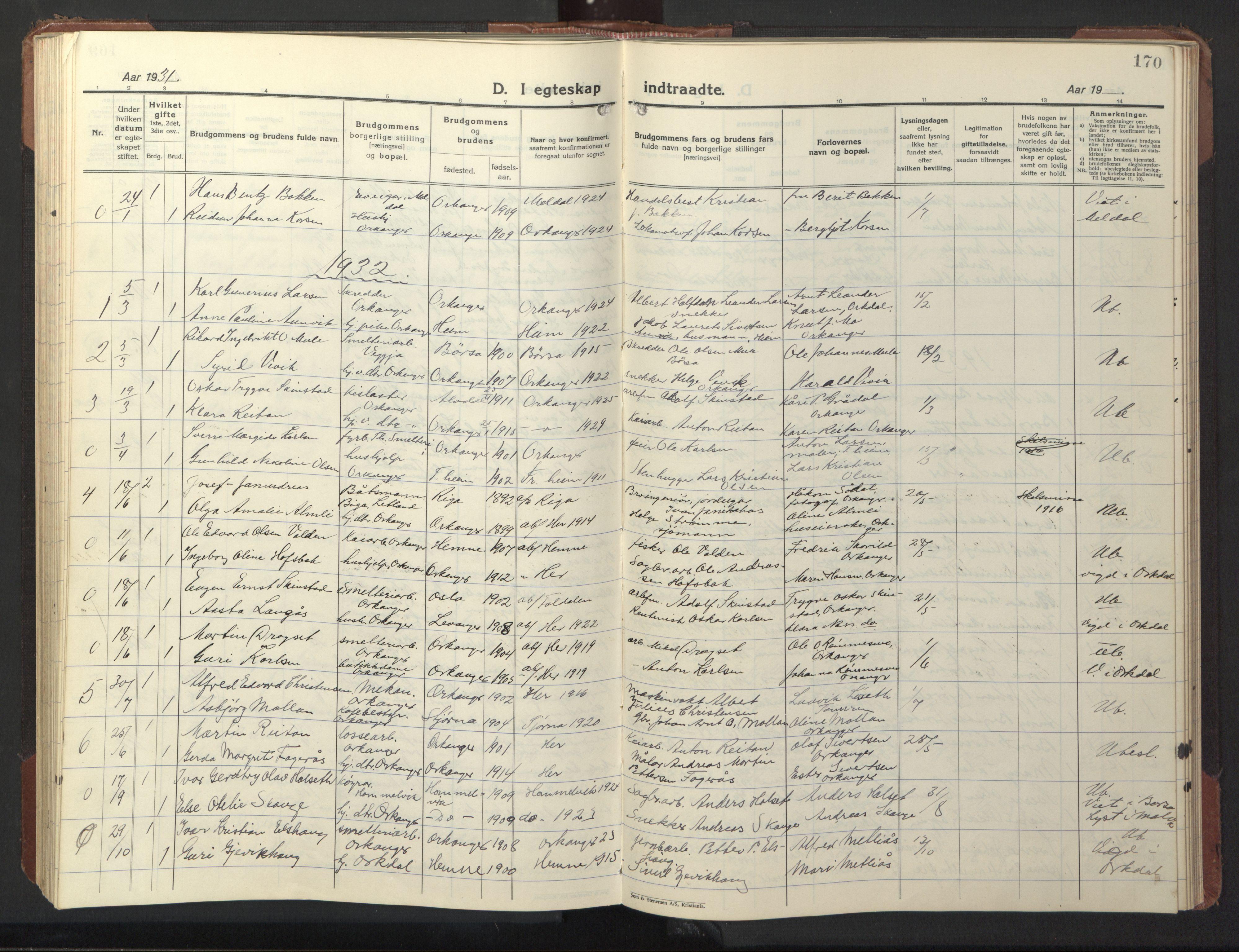 SAT, Ministerialprotokoller, klokkerbøker og fødselsregistre - Sør-Trøndelag, 669/L0832: Klokkerbok nr. 669C02, 1925-1953, s. 170