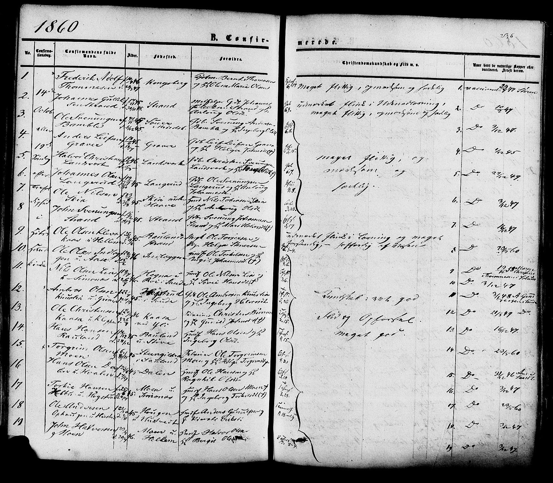 SAKO, Heddal kirkebøker, F/Fa/L0007: Ministerialbok nr. I 7, 1855-1877, s. 236