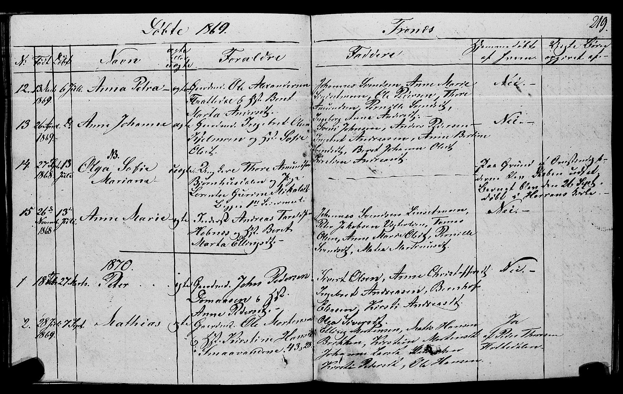 SAT, Ministerialprotokoller, klokkerbøker og fødselsregistre - Nord-Trøndelag, 762/L0538: Ministerialbok nr. 762A02 /2, 1833-1879, s. 219