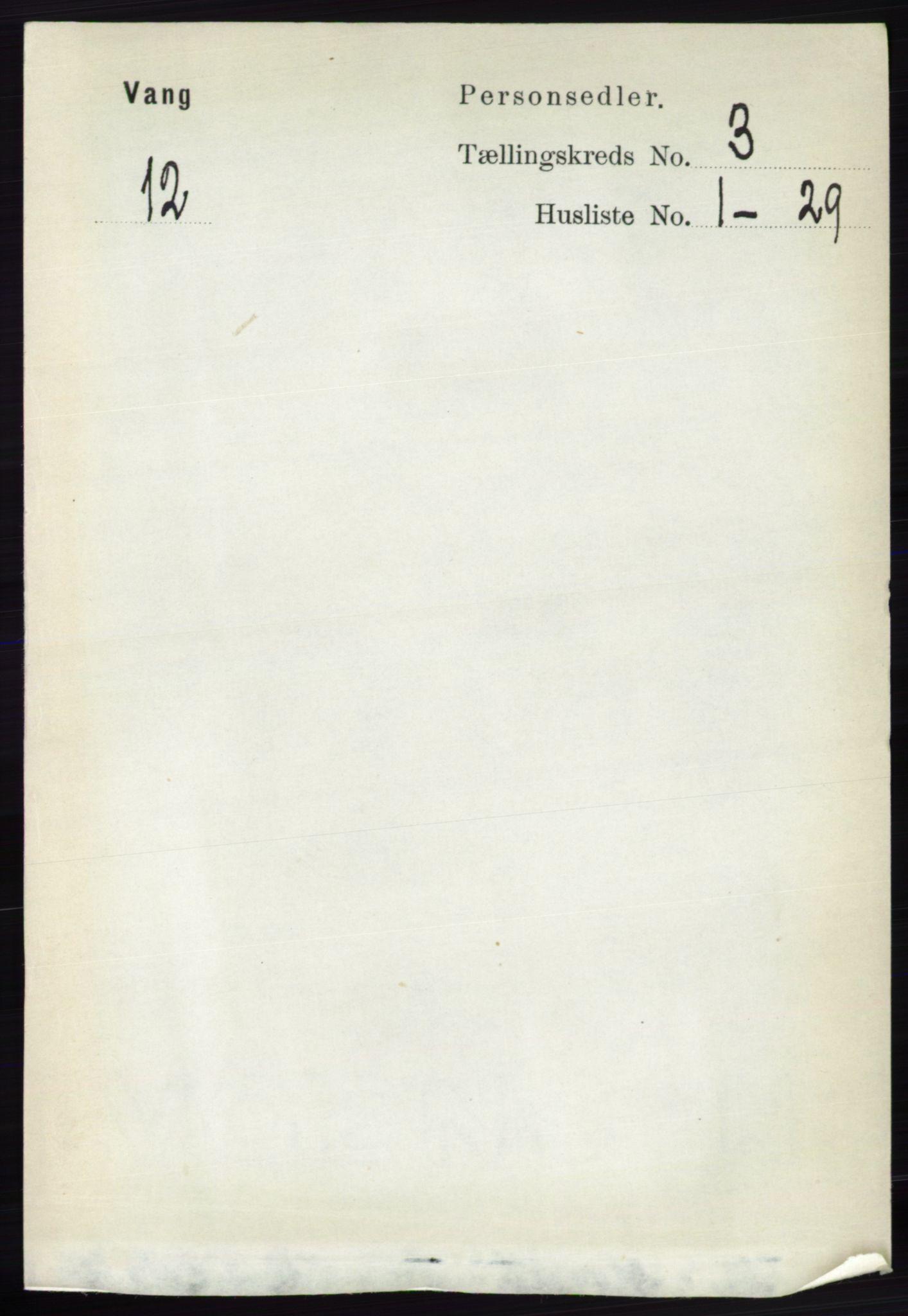 RA, Folketelling 1891 for 0414 Vang herred, 1891, s. 1892