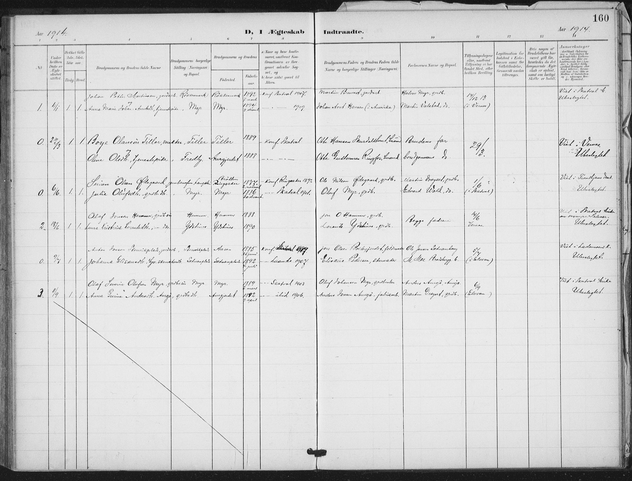 SAT, Ministerialprotokoller, klokkerbøker og fødselsregistre - Nord-Trøndelag, 712/L0101: Ministerialbok nr. 712A02, 1901-1916, s. 160