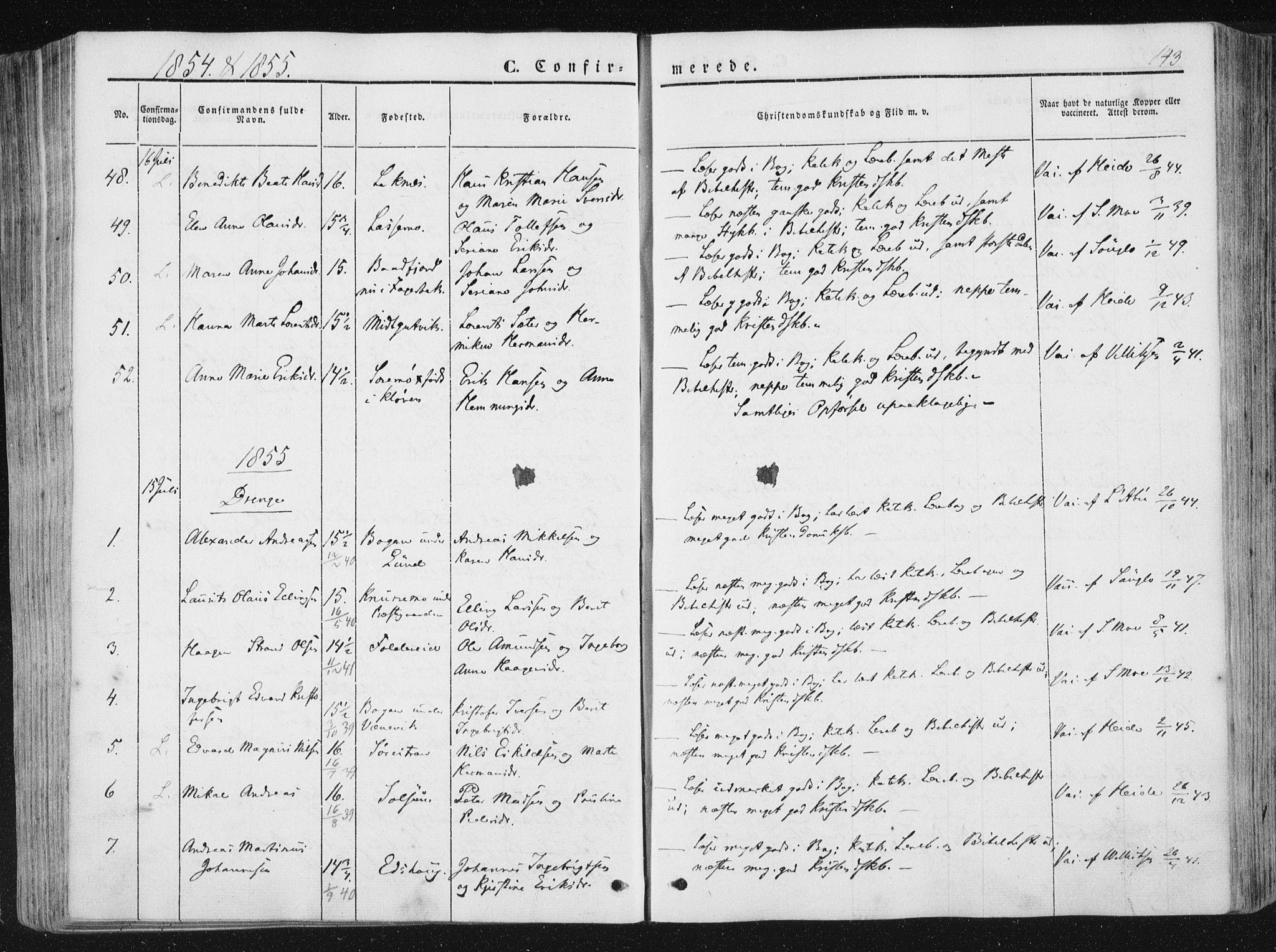 SAT, Ministerialprotokoller, klokkerbøker og fødselsregistre - Nord-Trøndelag, 780/L0640: Ministerialbok nr. 780A05, 1845-1856, s. 143
